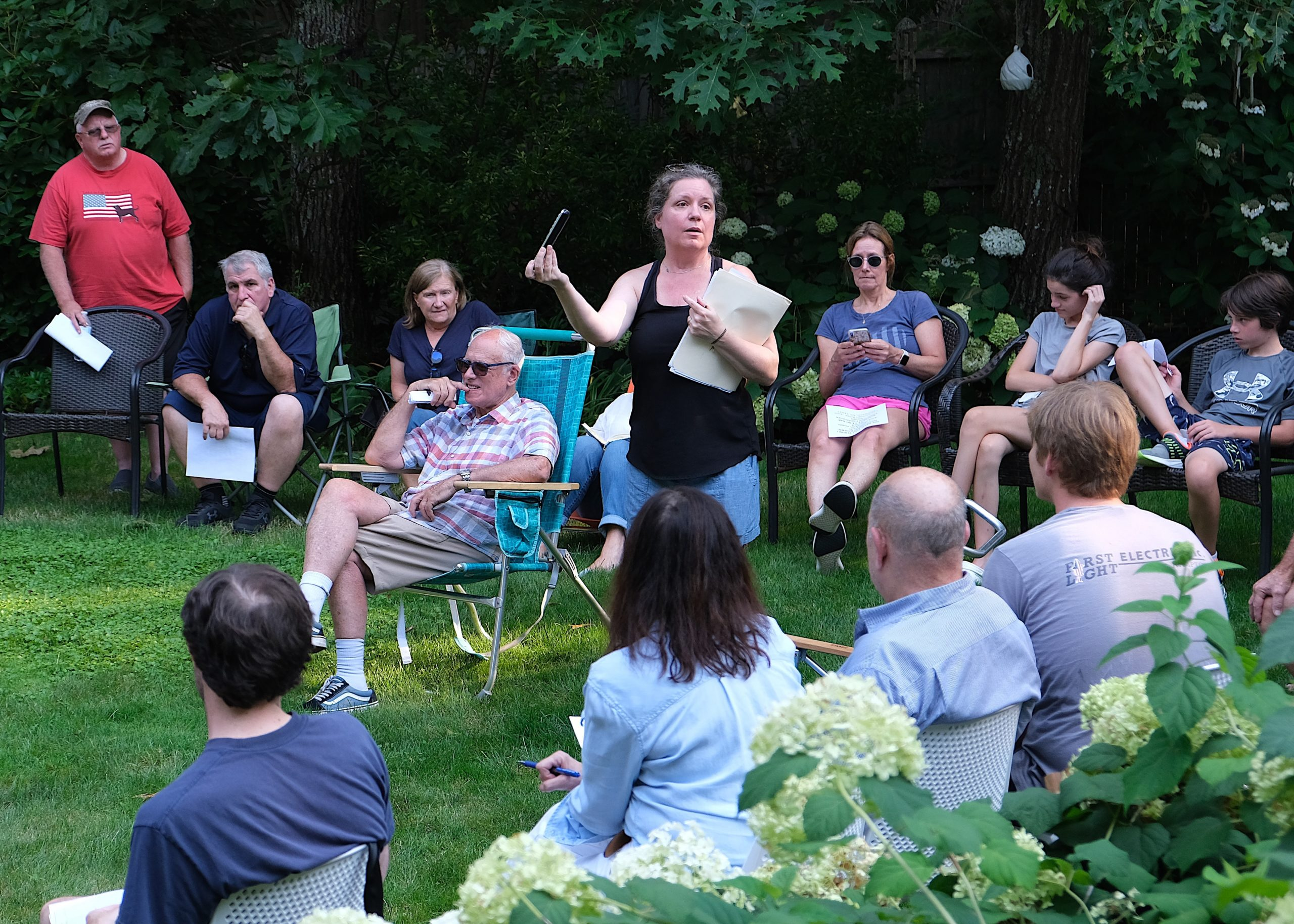 Residents of the Springs neighborhood that surrounds land the town has proposed putting a cell tower on gathered on Monday evening to discuss how best to oppose the project.