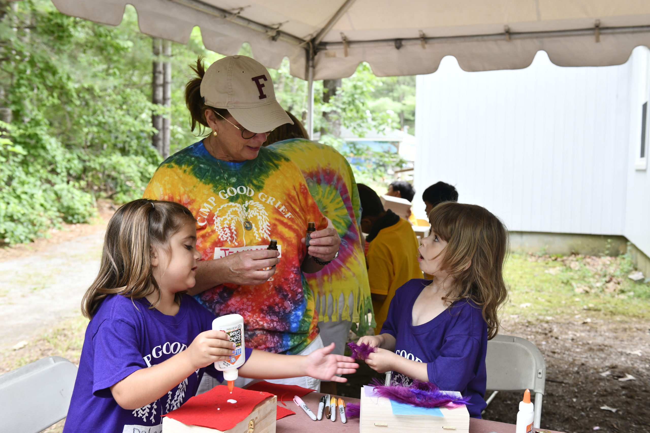 Campers in art therapy at Camp Good Grief.  DANA SHAW