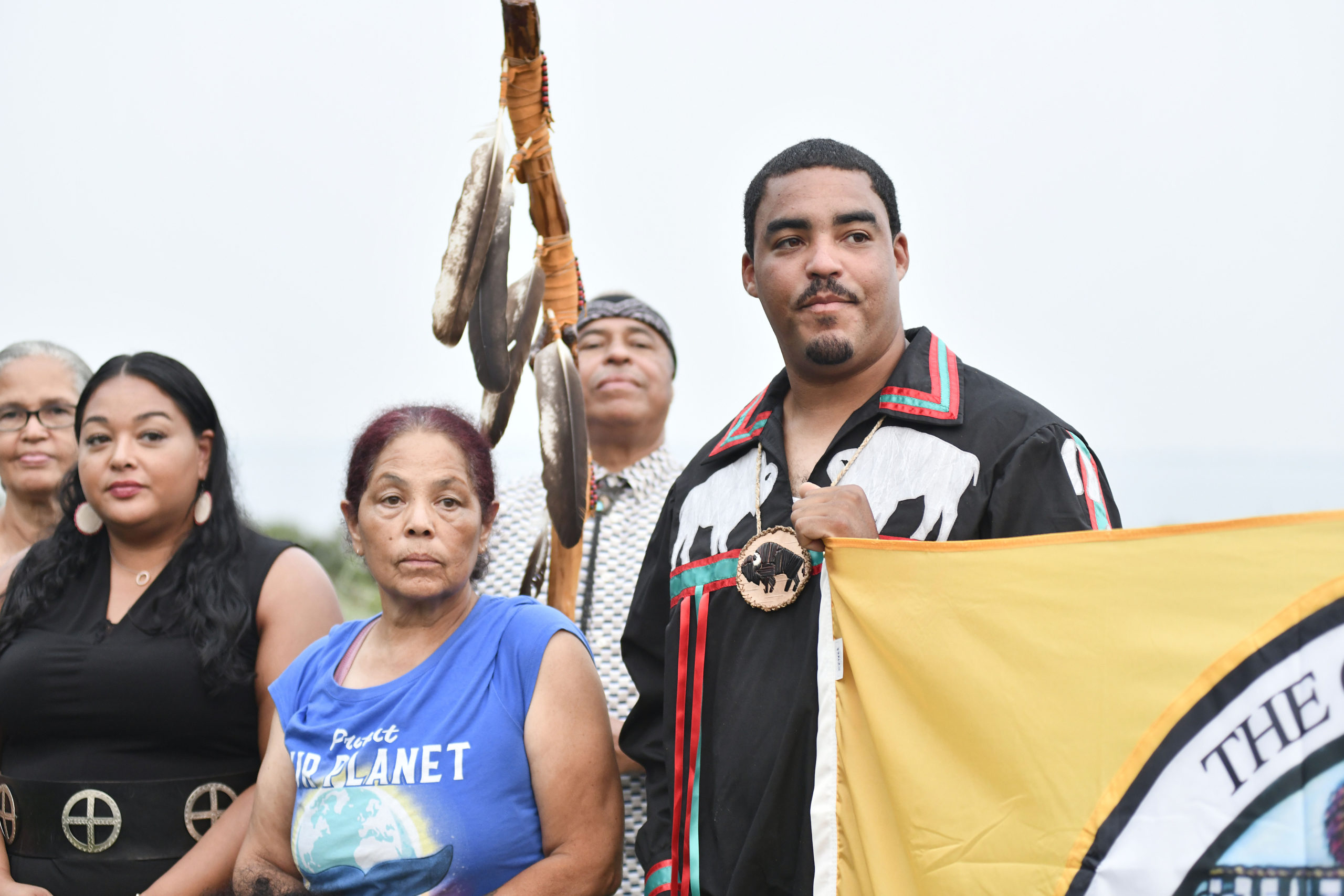 Shinnecock Nation Graves Protection Warrior Society co-chairs Rebecca Genia and Shane Weeks at the Sugar Loaf property on Tuesday evening.  DANA SHAW