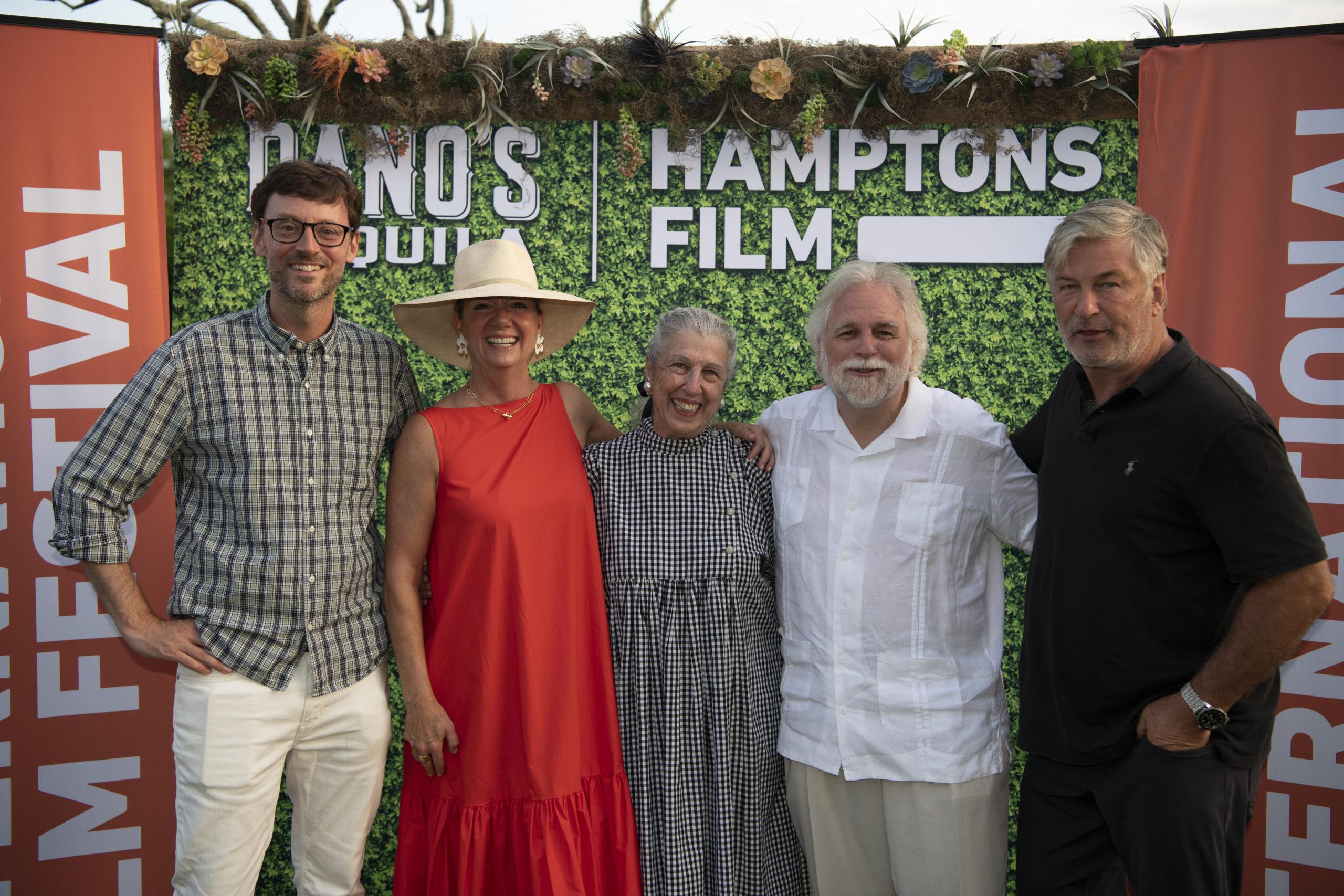 "David Nugent, Anne Chaisson, Patti Kenner, Randy Masto, and Alec Baldwin attend the HamptonsFilm SummerDocs Series Screening of ""The Lost Leonardo"" last weekend in East Hampton."