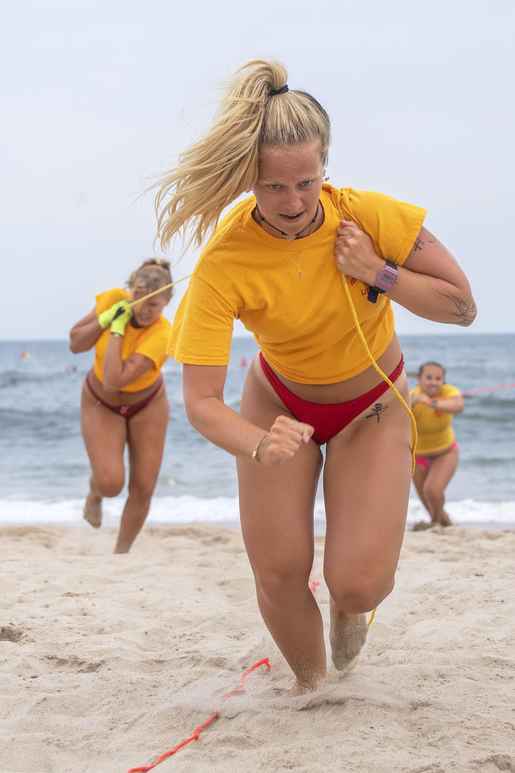 East Hampton Village lifeguard Julia Short in the women's landline rescue.
