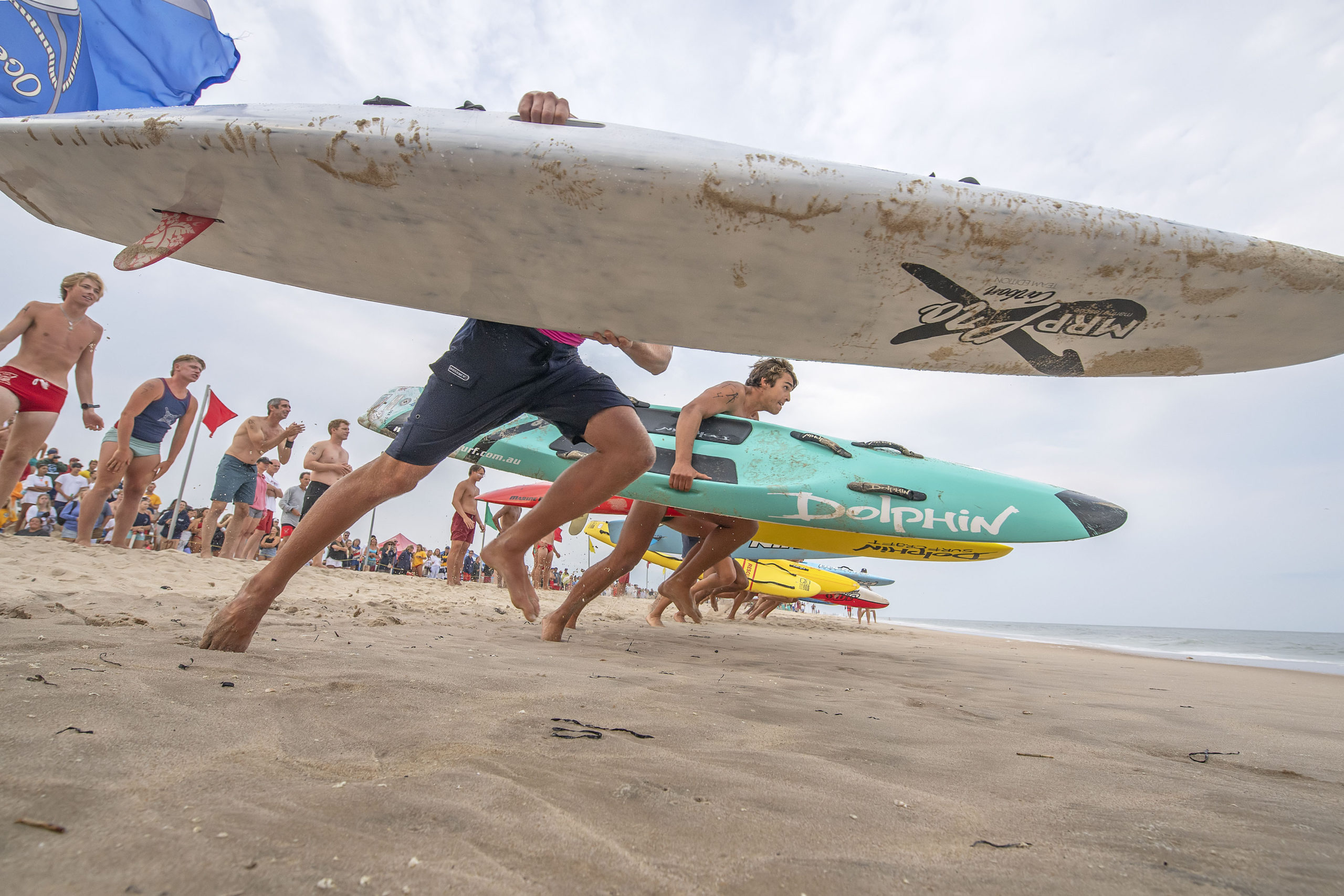 The start of the men's rescue board relay.