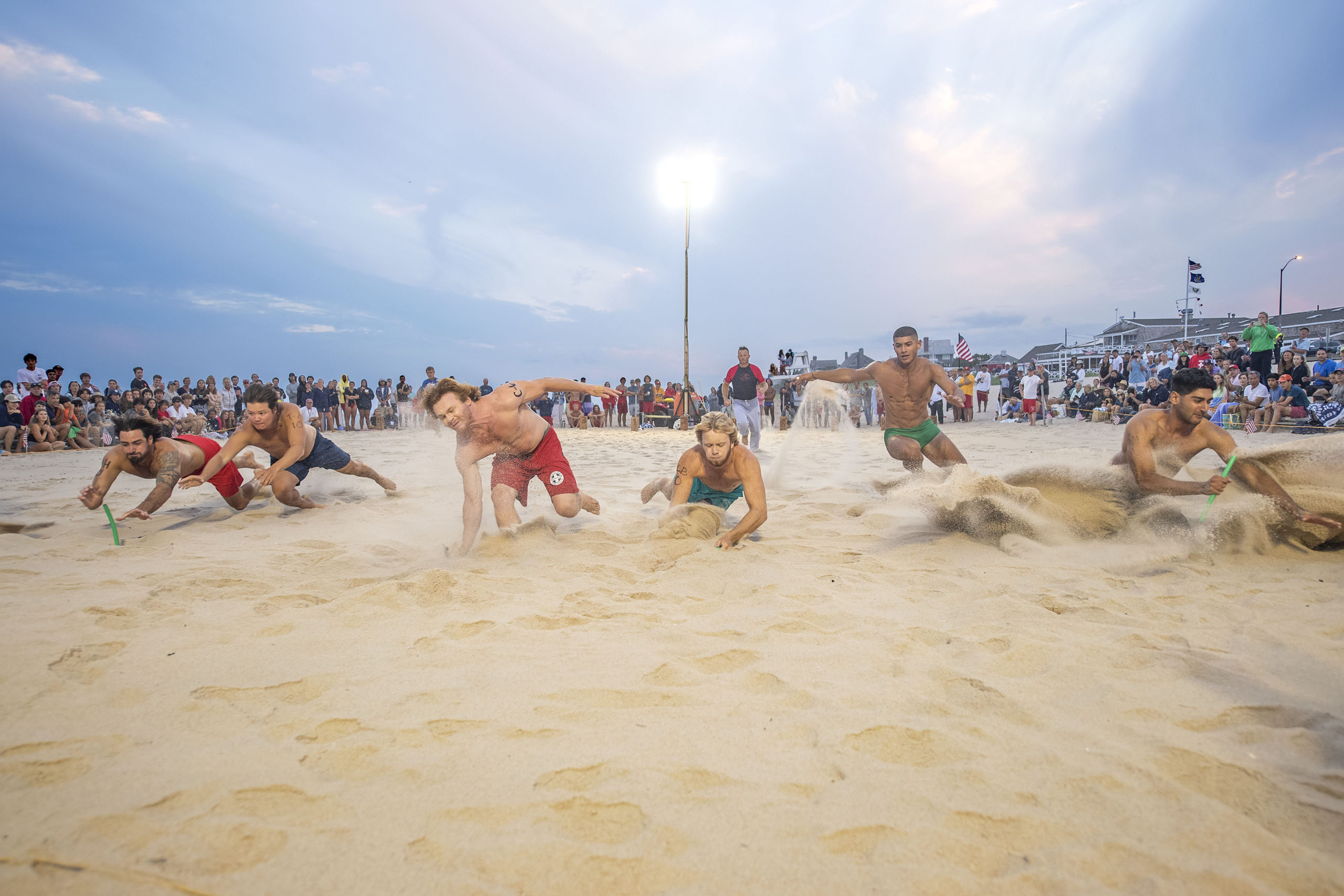 The men's beach flags competition.