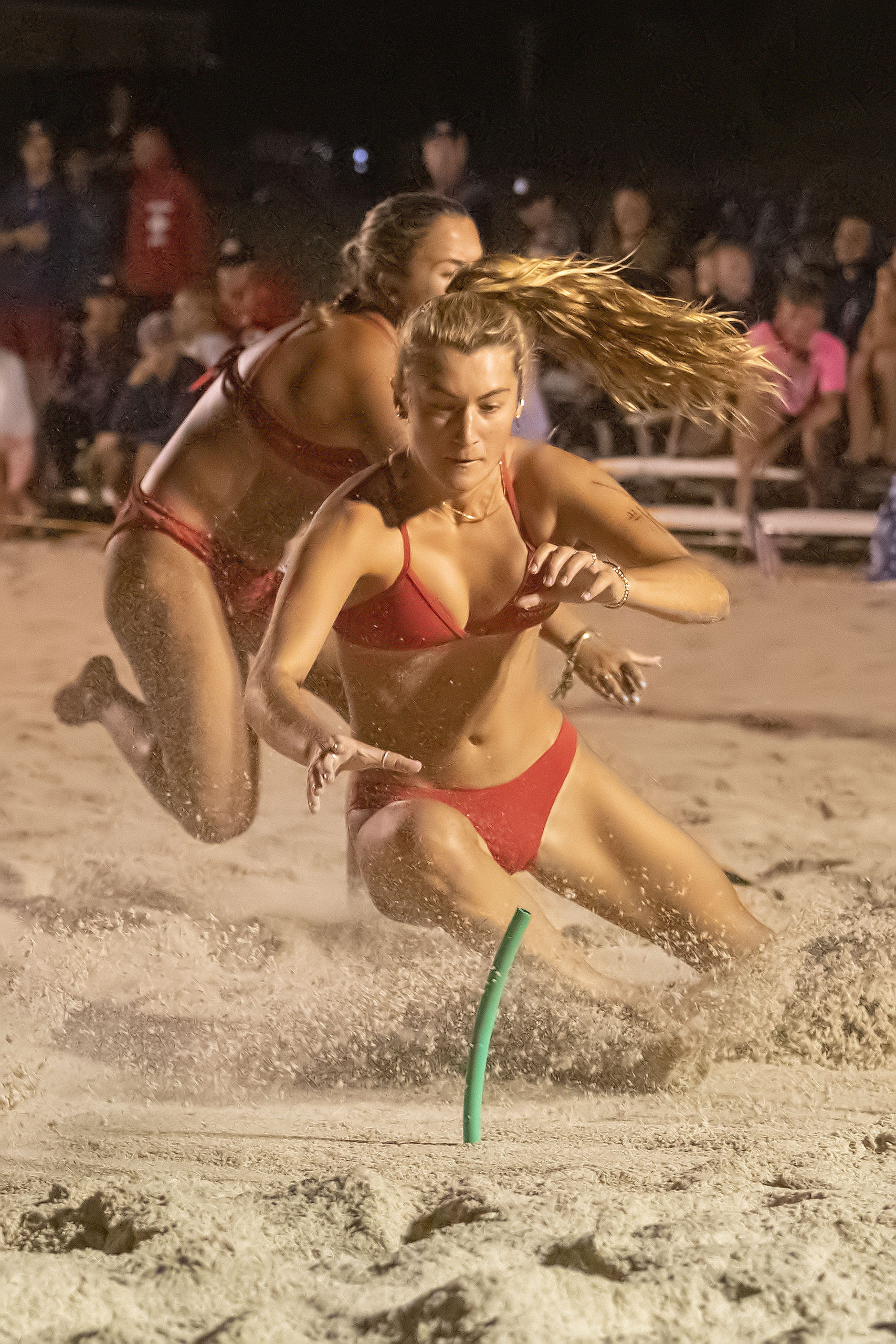 East Hampton Village lifeguard Stella McCormack during the women's beach flags competition.
