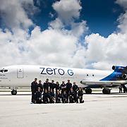 Riders outside a Zero-G plane.