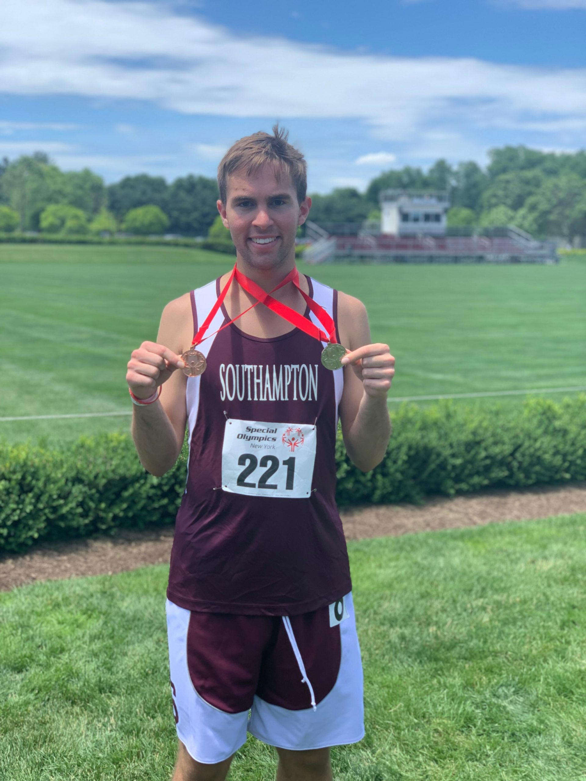 William Segarra with medals he won earlier this year.