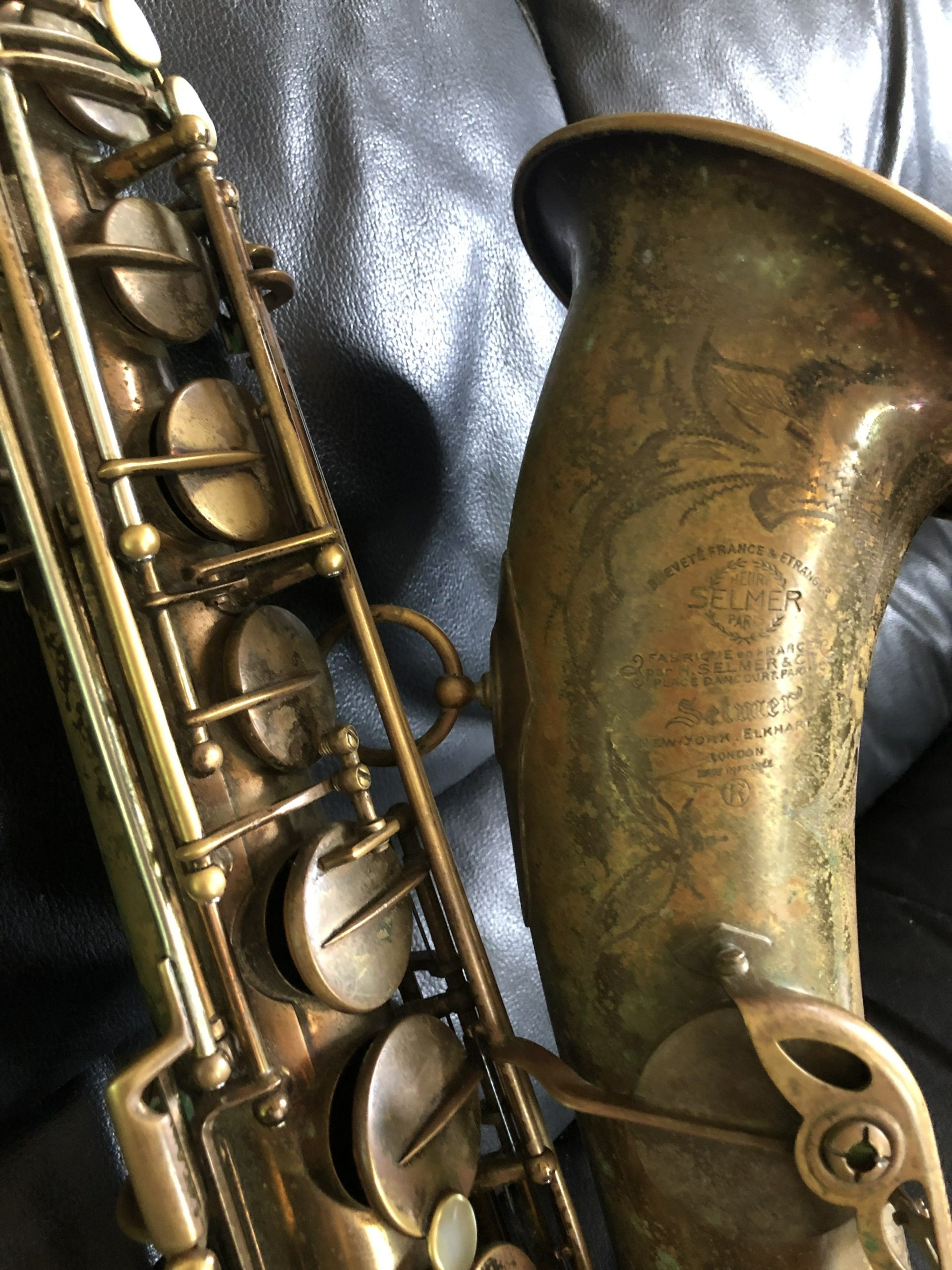 Pat DeRosa still plays the Selmer Mark VI saxophone he purchased in the 1940s. CAILIN RILEY