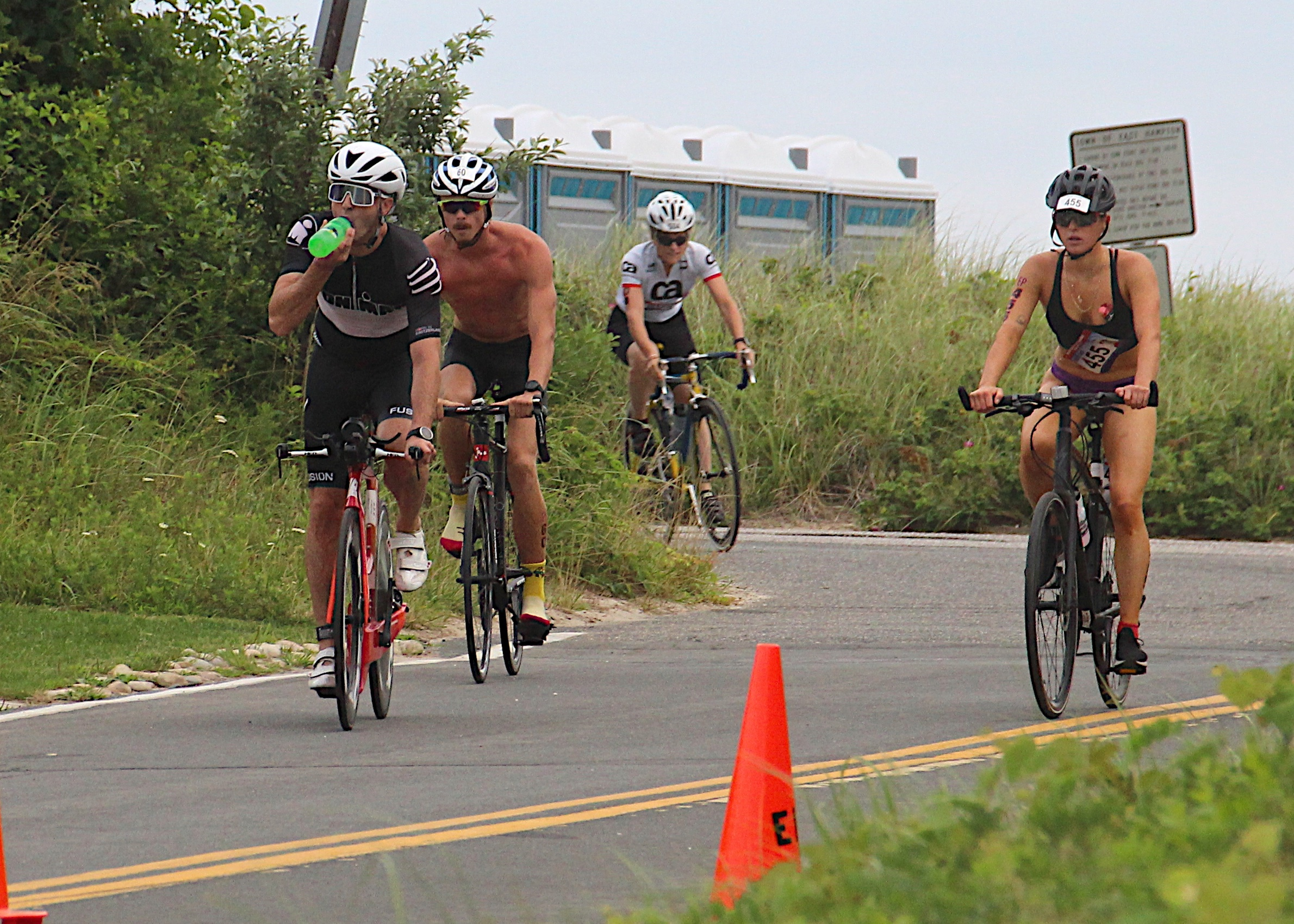 Triathletes in the cycling portion of the Montauk Lighthouse Triathlon on Sunday morning.