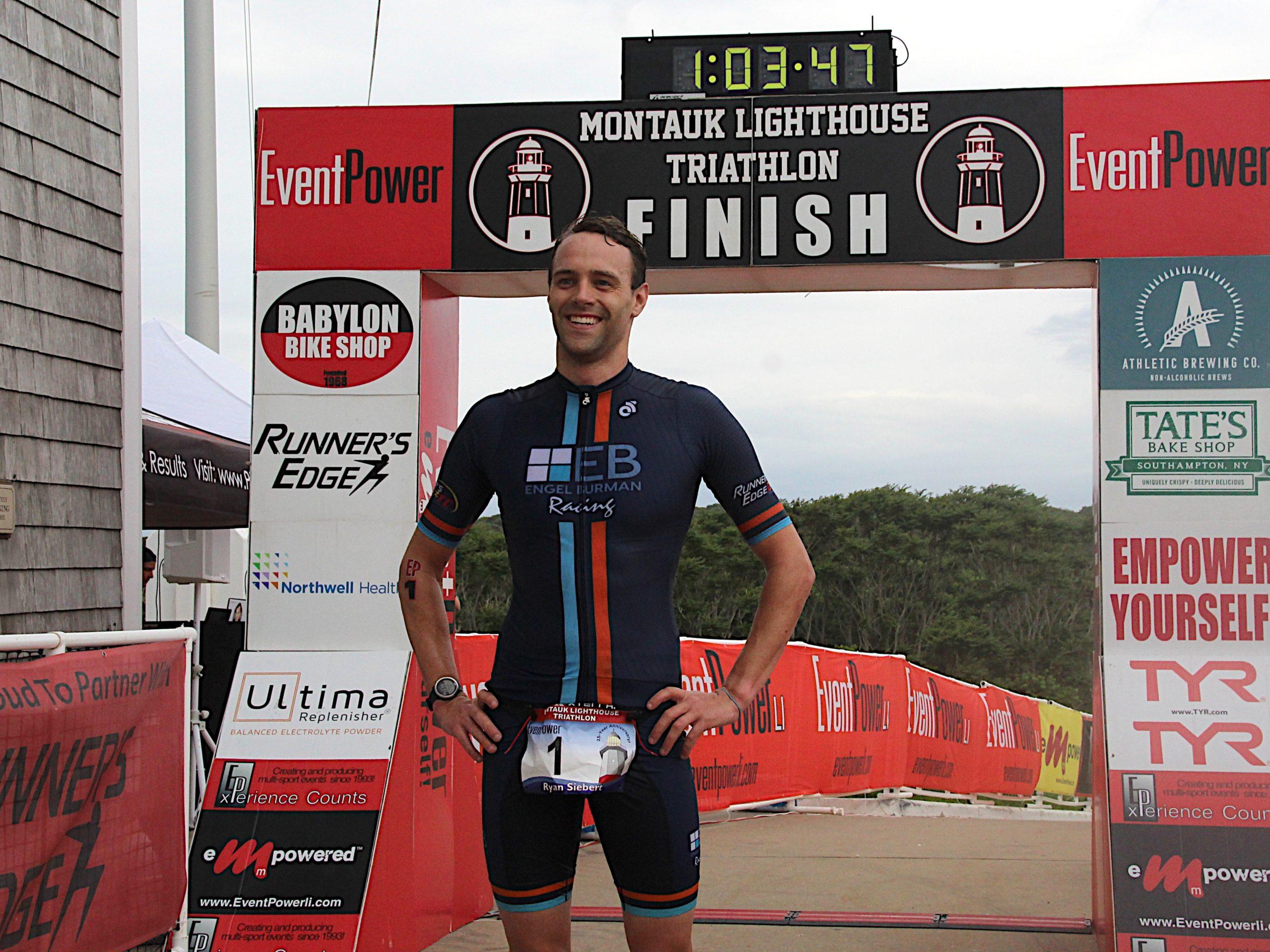 Tom Eikelberg was the winner of the 25th annual Montauk Lighthouse Triathlon on Sunday morning.