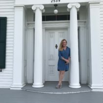 Nina Dec, the new executive director of the Bridgehampton Museum outside the nearly completed Nathaniel Rogers House. PETER SUGHRUE