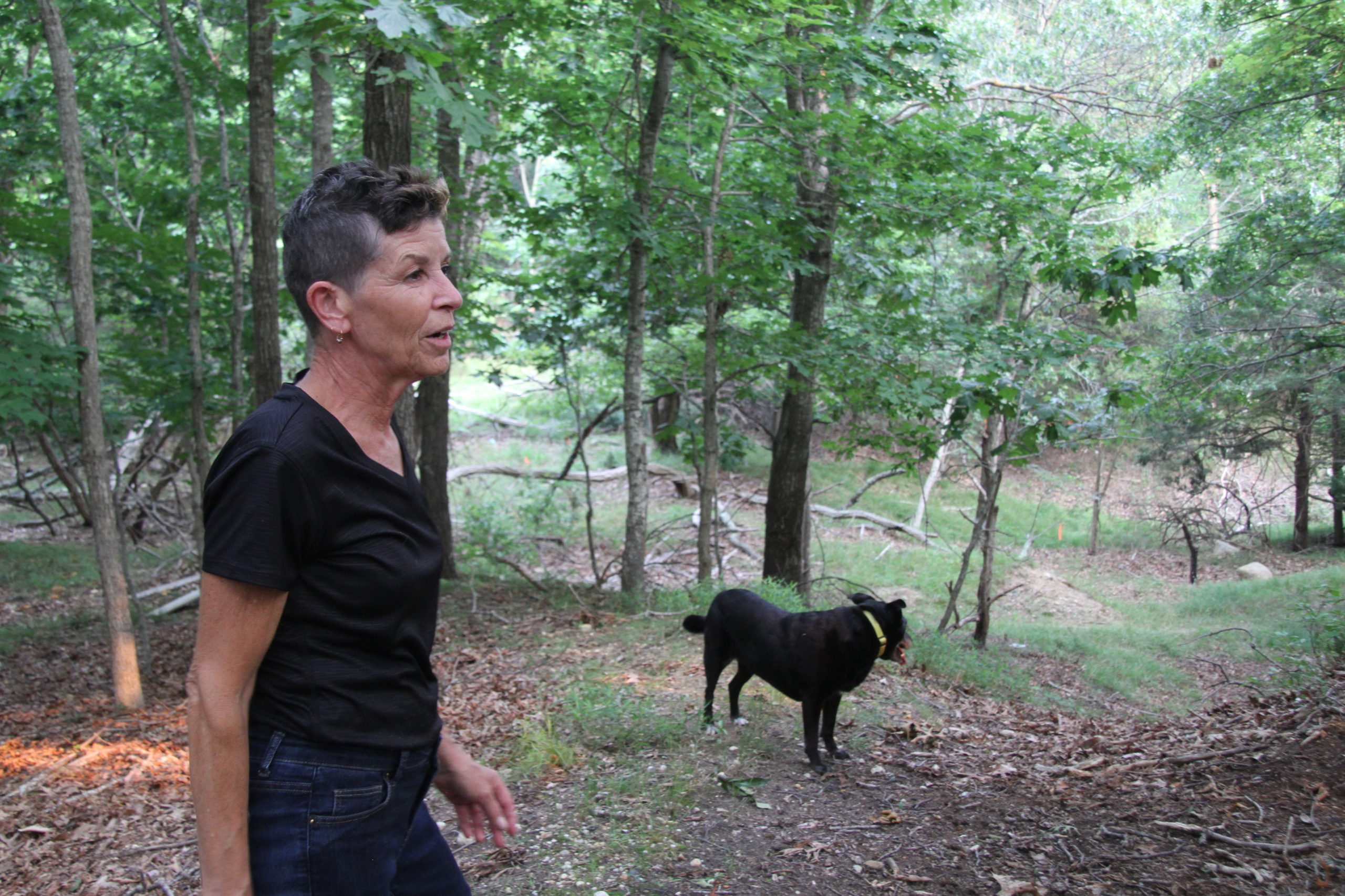 Aleaze Schaap-Hodgens, who lives on the edge of the wooded lot, said it's