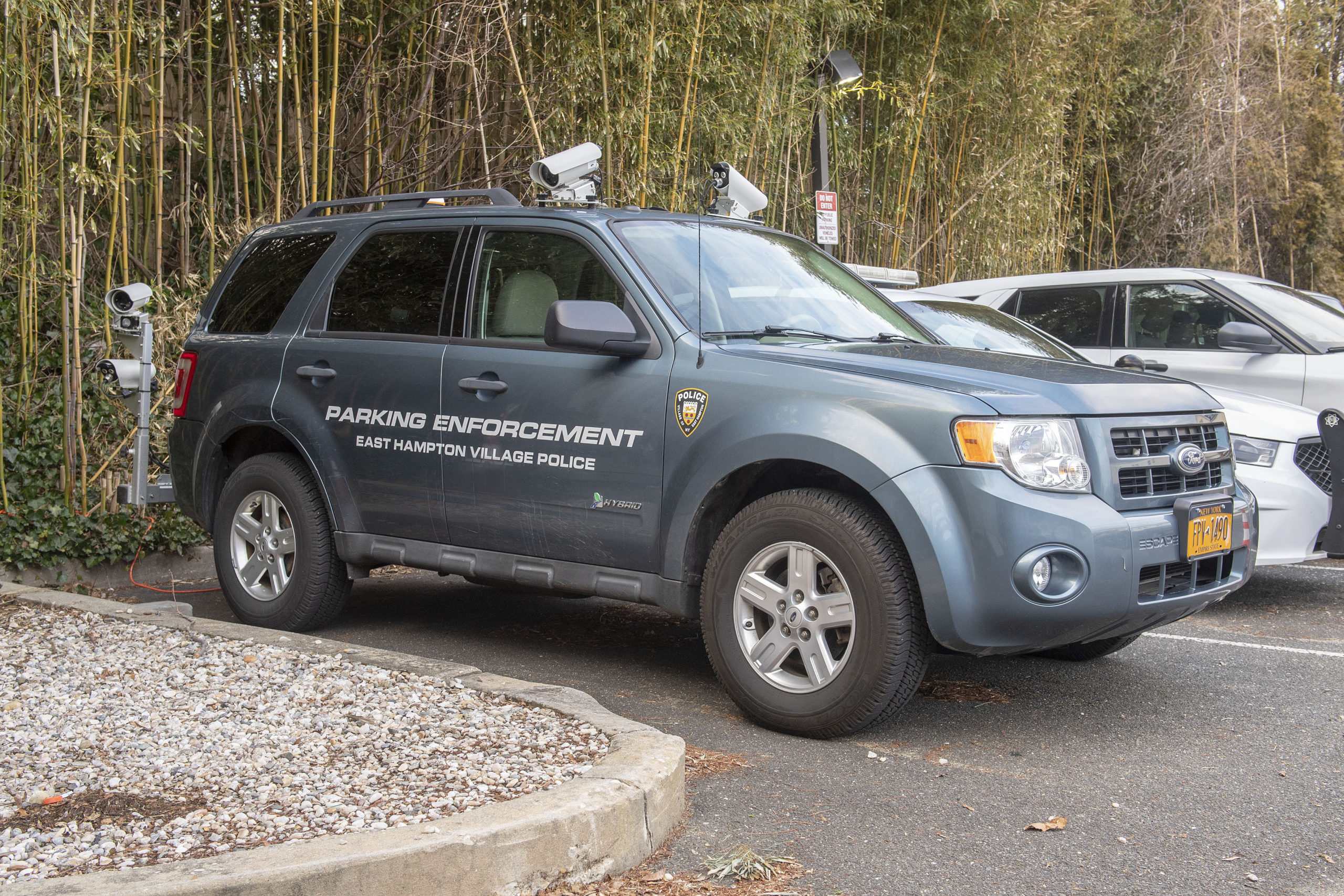 The East Hampton Village parking enforcement vehicle. The village is being sued by the company that manufactures the license plate scanners mounted on the truck after it decided to use a different company's scanners.