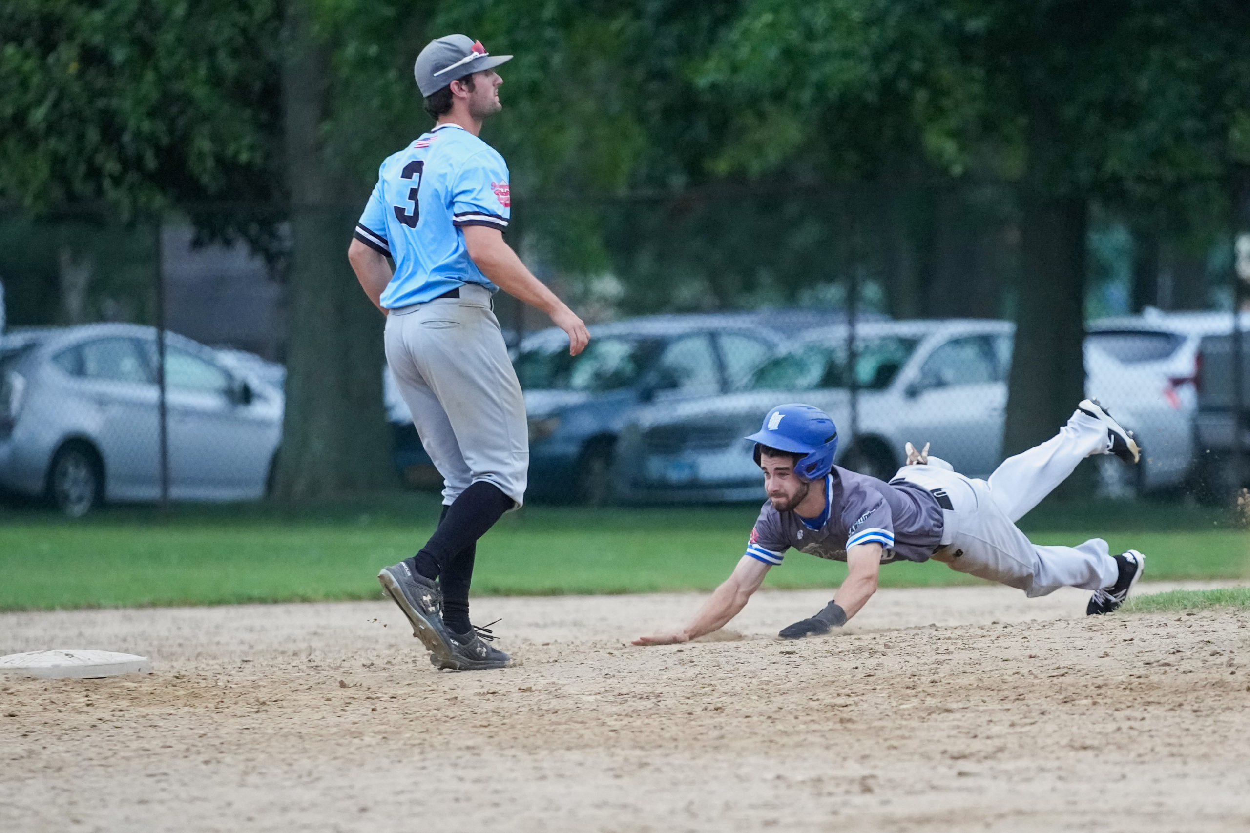 Breaker Will Gale (Seton Hall) slides head first into second base during Sunday's game.