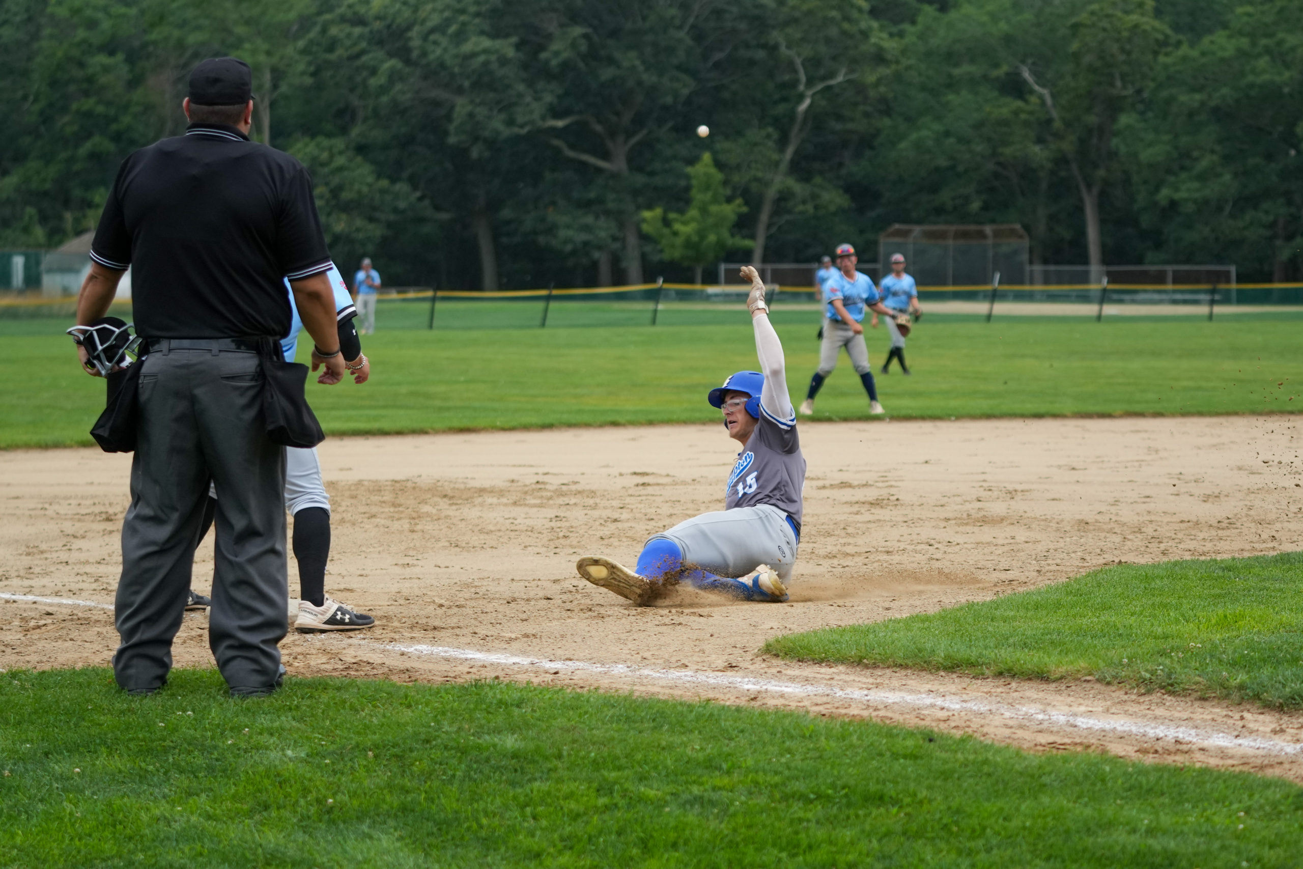Southampton's Parker Stinson (Indiana State) slides into third base.