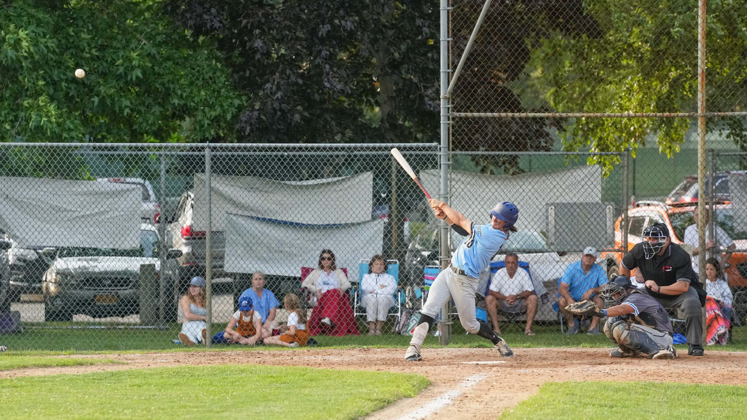 Sag Harbor's Sean Springer (Cincinnati) makes contact with a pitch.
