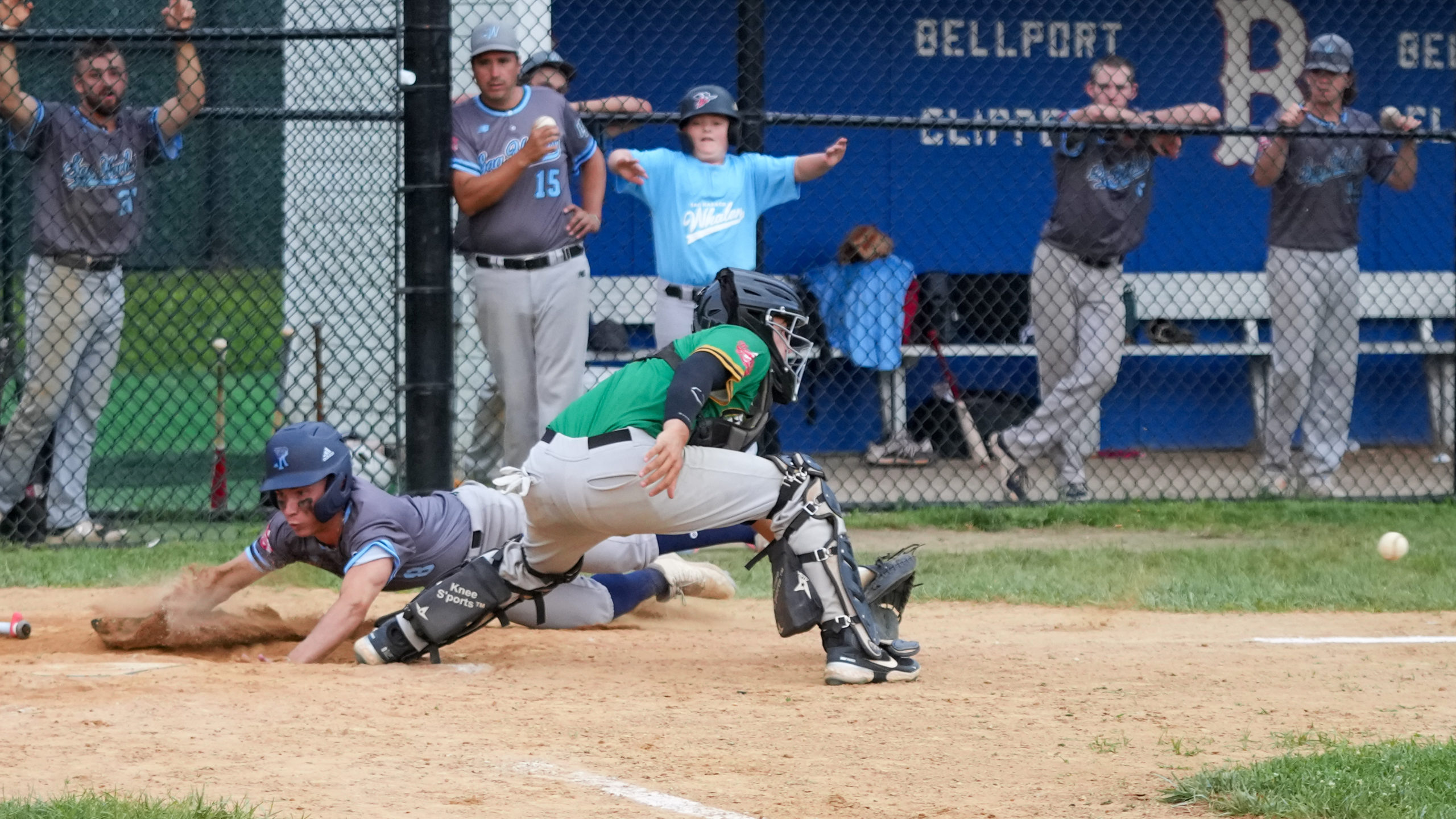 Anthony Panissidi (Rhode Island) scores a key insurance run in the top of the 12th inning to put the Whalers up, 4-2, which wound up being the final score of Thursday's wild card game.