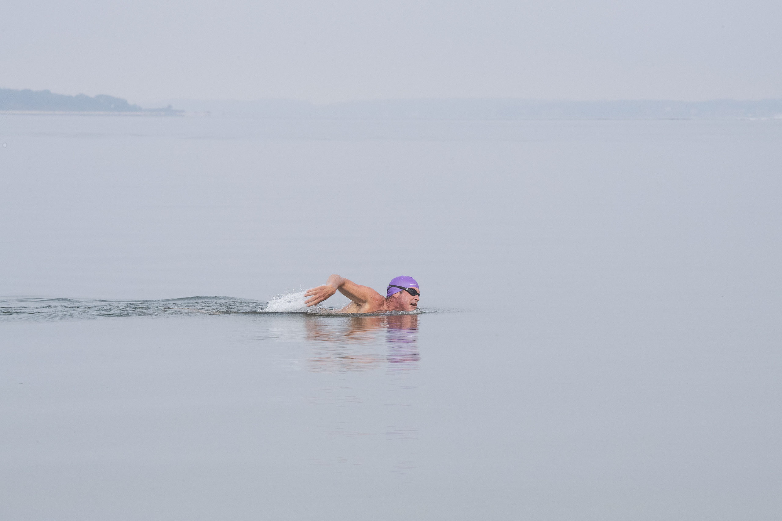 A competitor swims during the first leg of the Hamptons Young at Heart Triathlon, held at Long Beach in Sag Harbor on Saturday, July 17.