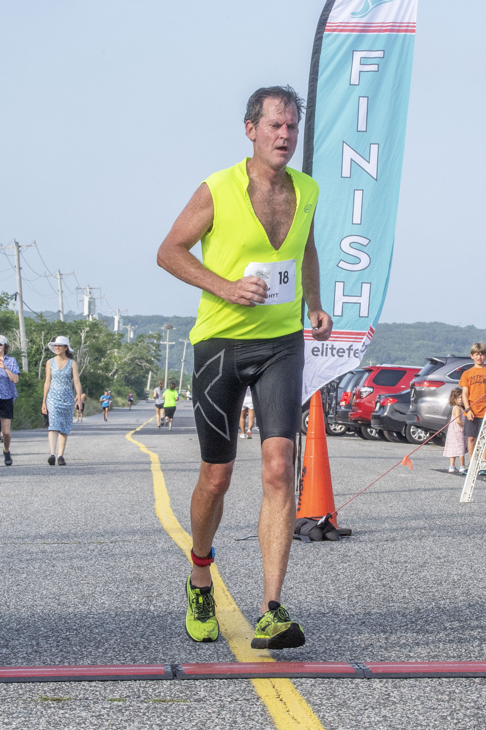 Bob Bottini was the overall winner of the Hamptons Young at Heart Triathlon, held at Long Beach in Sag Harbor on Saturday, July 17.