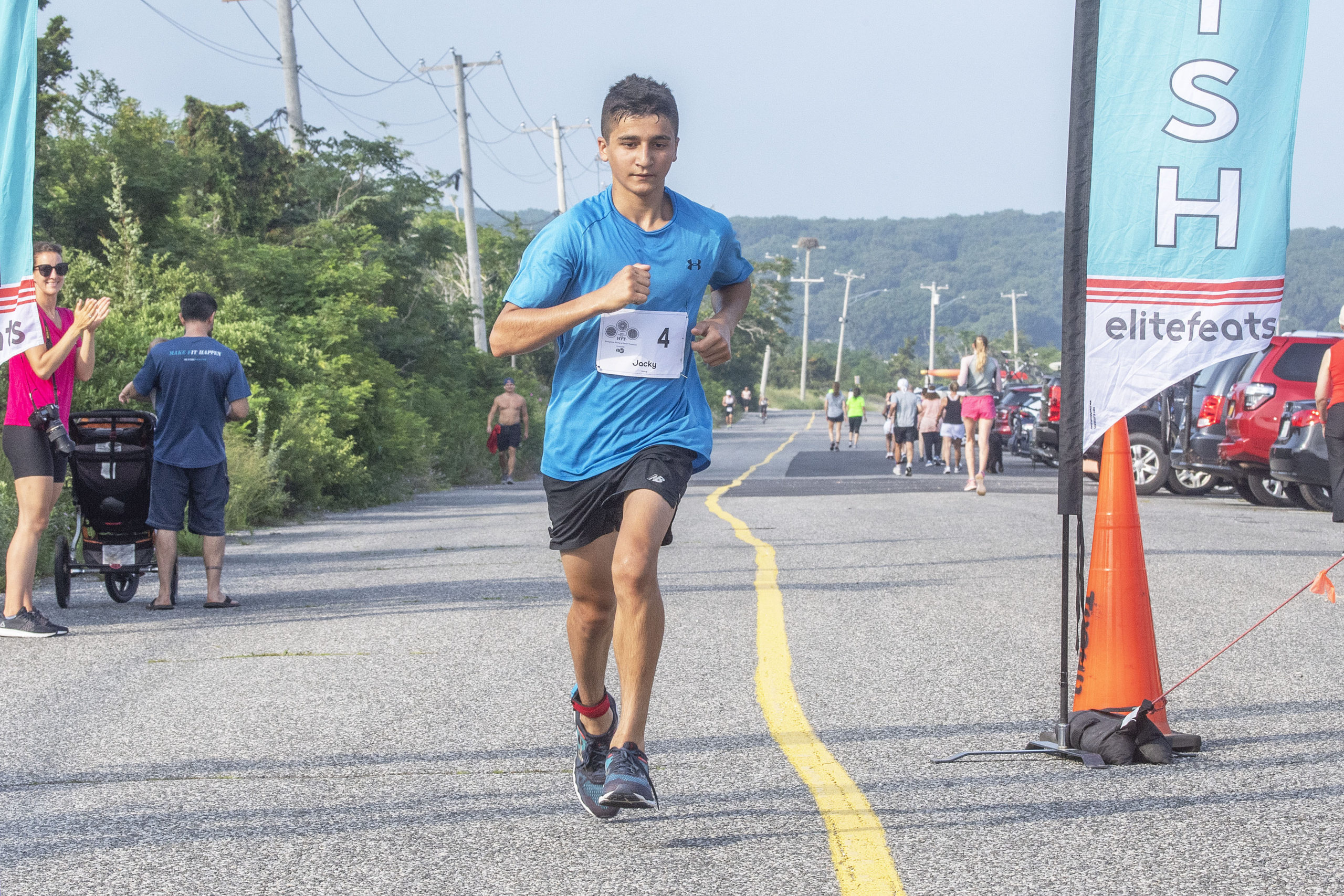 Jack DiMaggio, 15, of Smithtown was the first youth finisher of the Hamptons Young at Heart Triathlon.