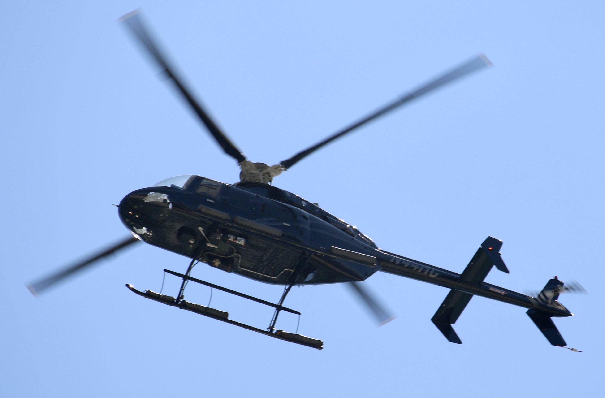 Helicopter landing at East Hampton Airport.