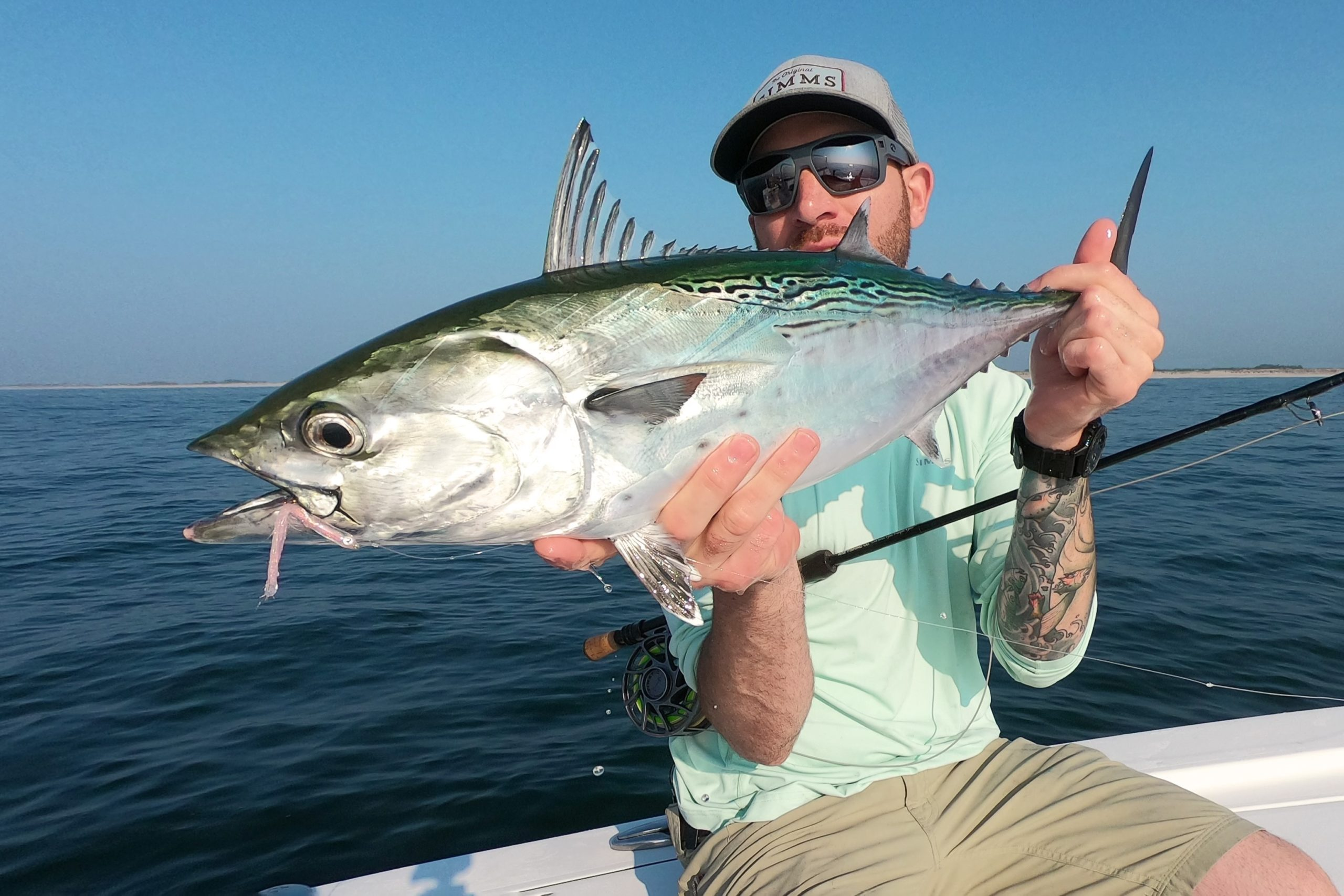 Jeff Lomonaco with the first false albacore landed off the South Fork this season.