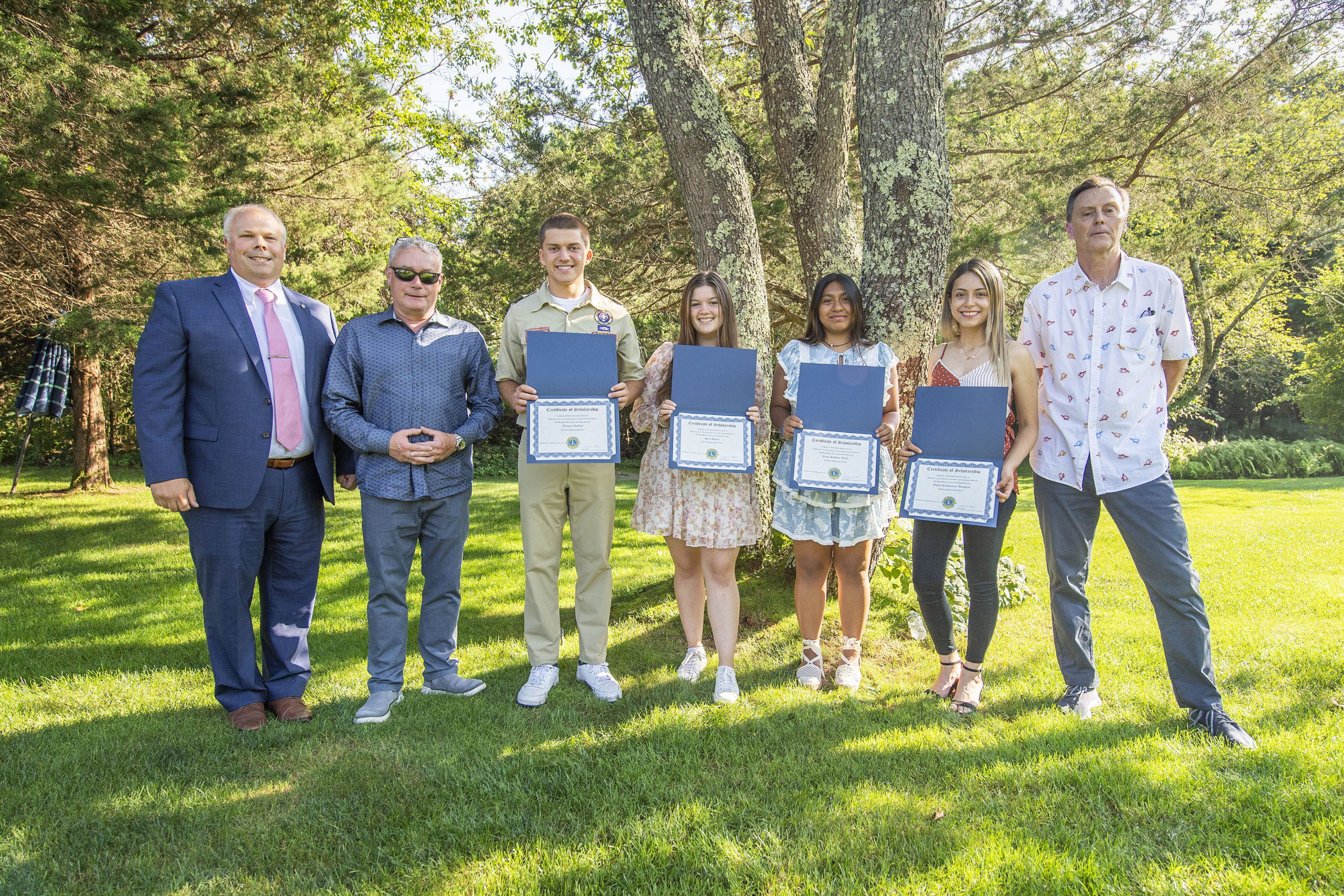 Pierson High School students Truman Yardley, Sara Schoen, Iaiele Saldivar-Tellez and Thaily Ribadeneira-Amaguay were recipients of the 2021 Sag Harbor Lions Club Scholarship Awards, which were presented to them by Scholarship Selection Committee Chair Mark Poitras, Former Lions Club President Tony Lawless and First Vice President Paul Zaykowski during a ceremony at the Zaykowski residence on July 28.