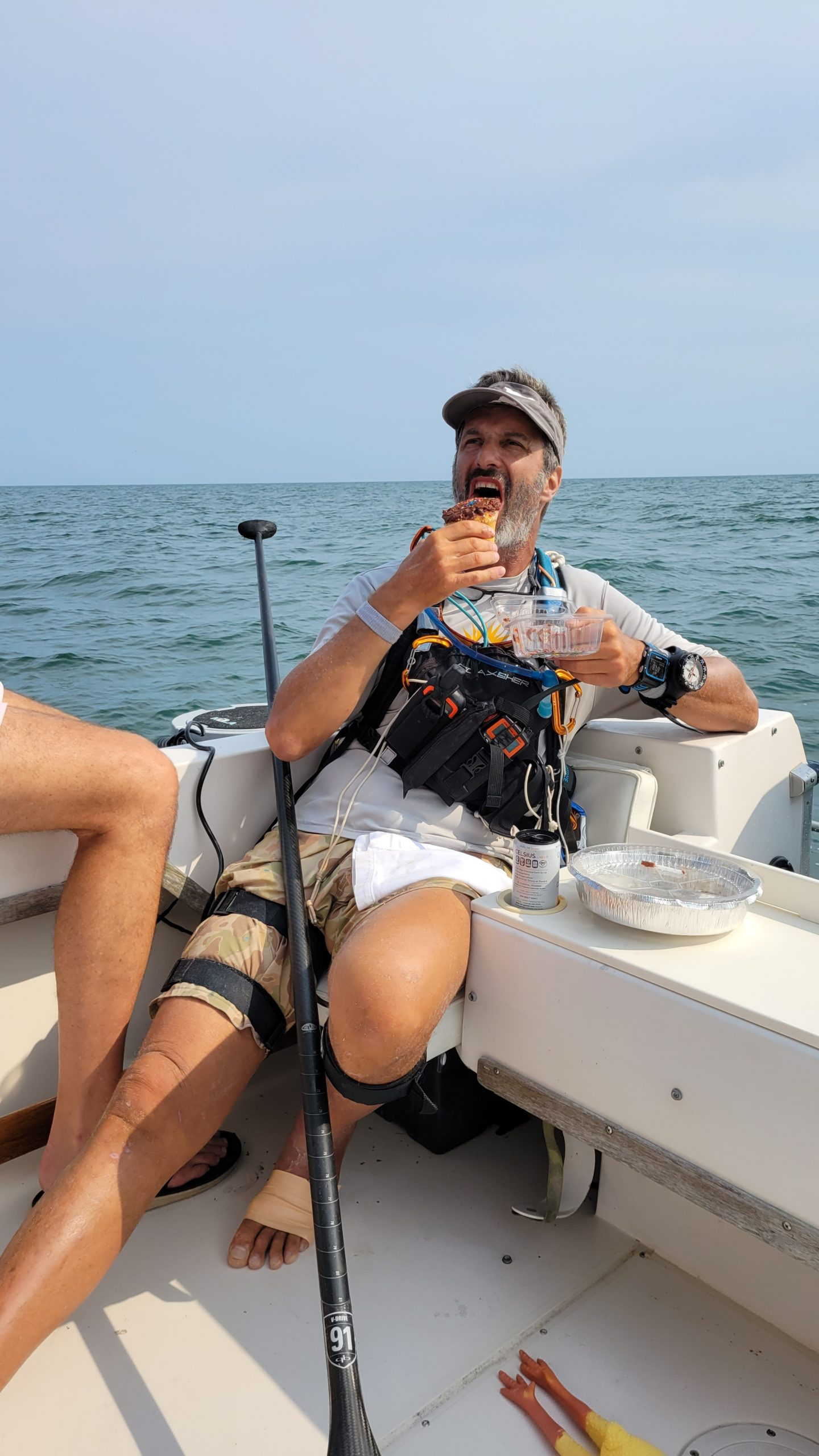 Adam Nagler boarded Norm Stump's boat just off the shores of Southampton to enjoy some Fellingham's and a birthday cupcake that friends Carol and Tim Reed brought for him.