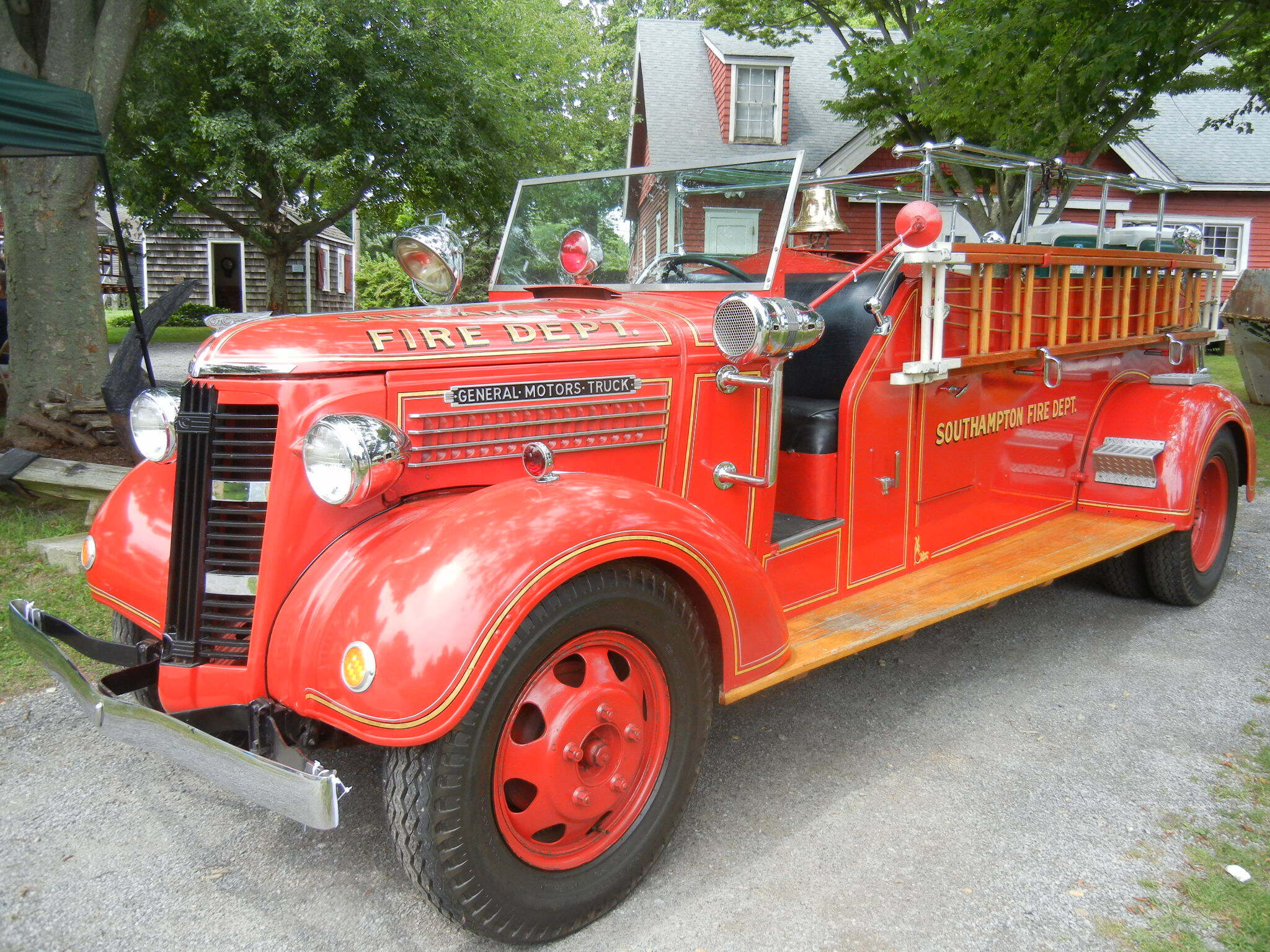 One of the Southampton Fire Department antique truck and ladder vehicles in 2018.
