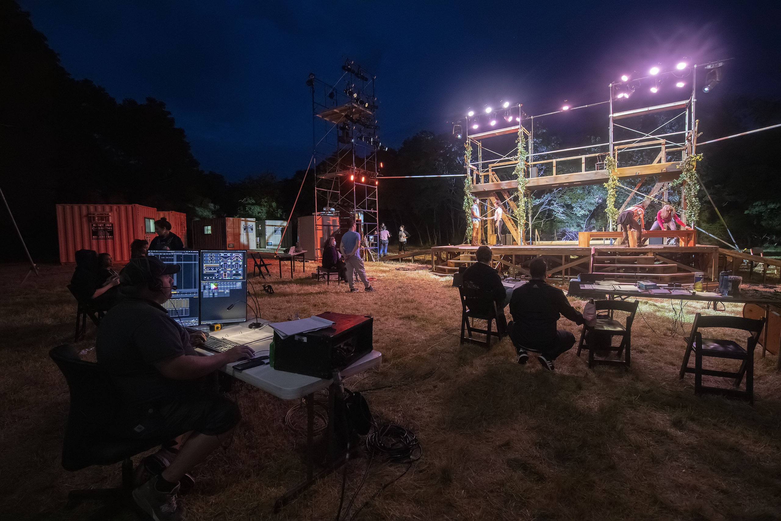 Stage crews go over technical aspects of the show during a rehearsal of Bay Street Theater's production of