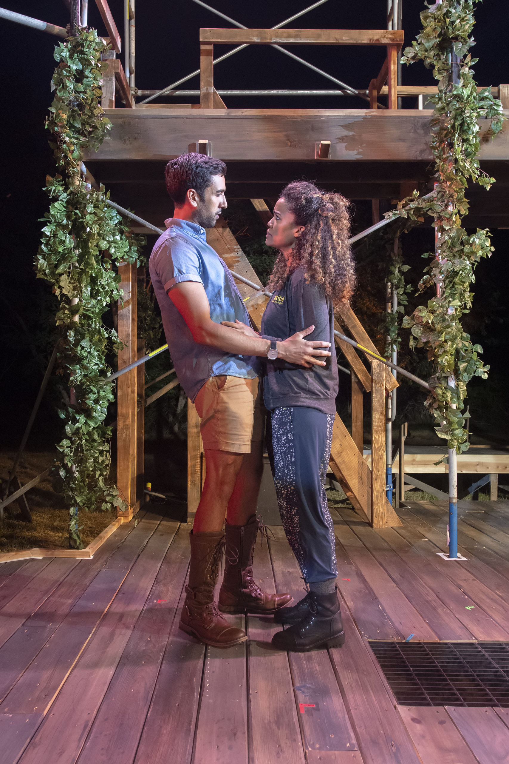 Sir Lancelot and Guenevere, played by Deven Kolluri and Britney Coleman, during a rehearsal of