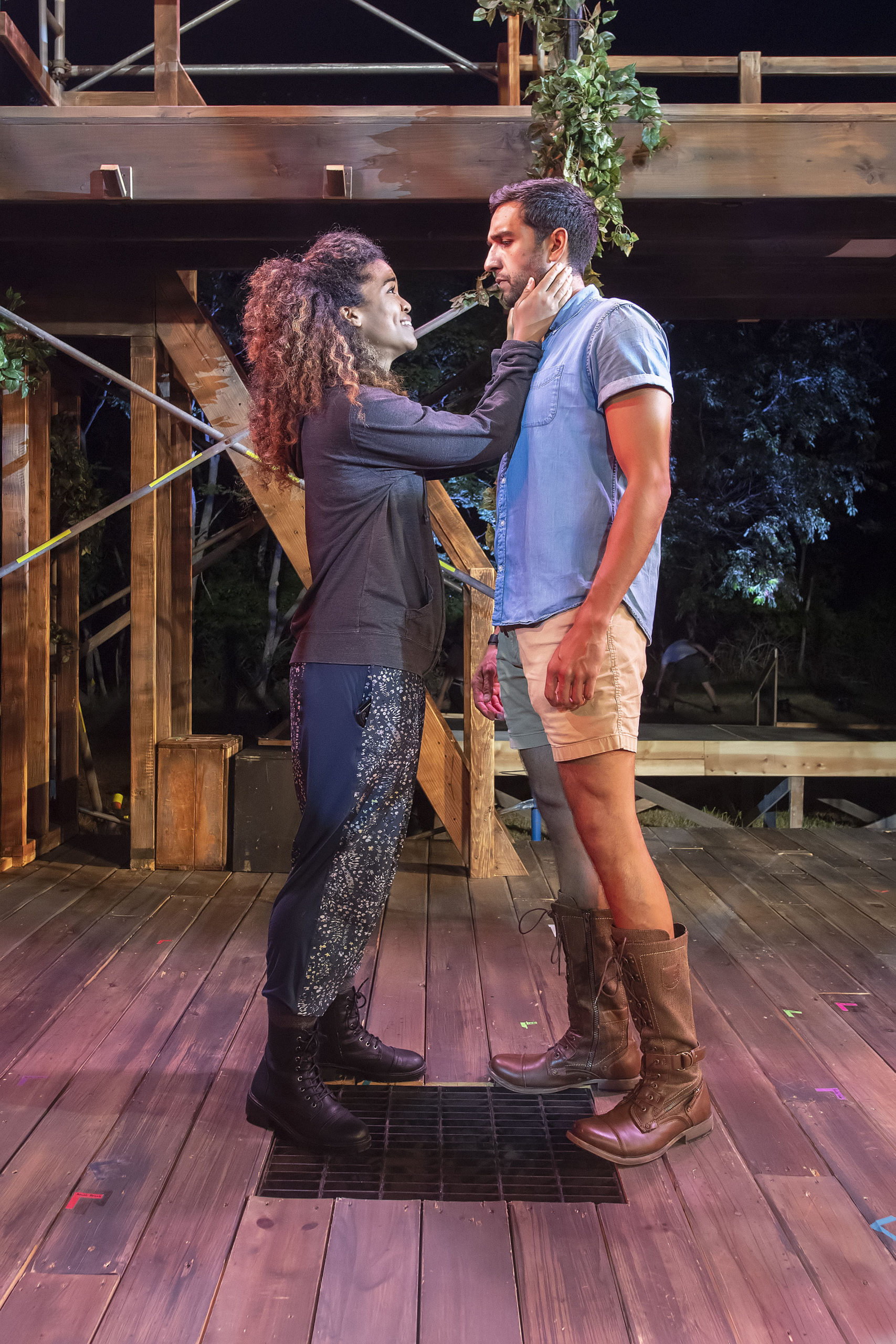 Guenevere and Sir Lancelot, played by Britney Coleman and Deven Kolluri, during a rehearsal of
