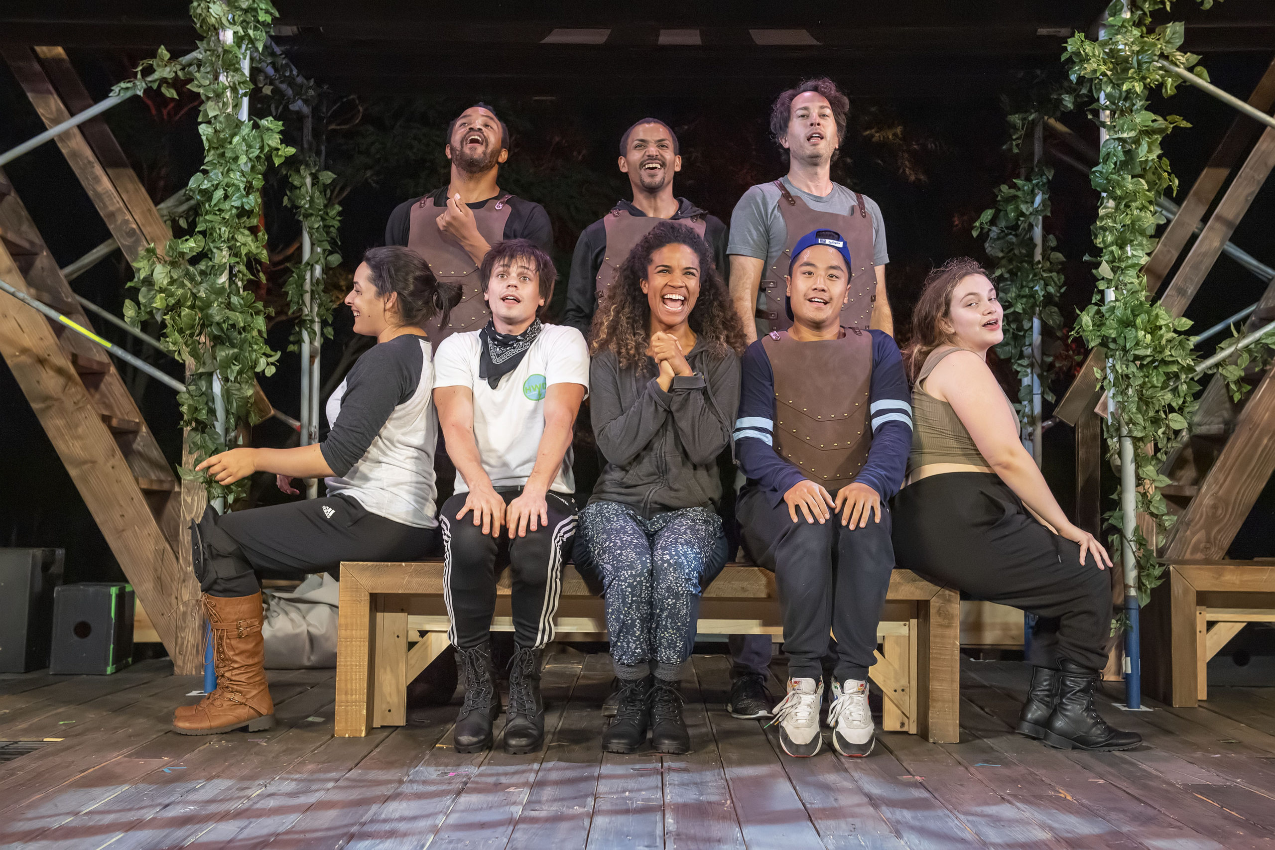 Guenevere (Britney Coleman), center, is joined by her chorus as she sings during a rehearsal of the Bay Street Theater's production of