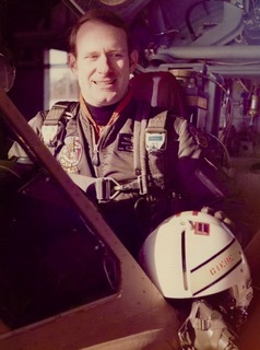 Bernie in the cockpit of his F102.