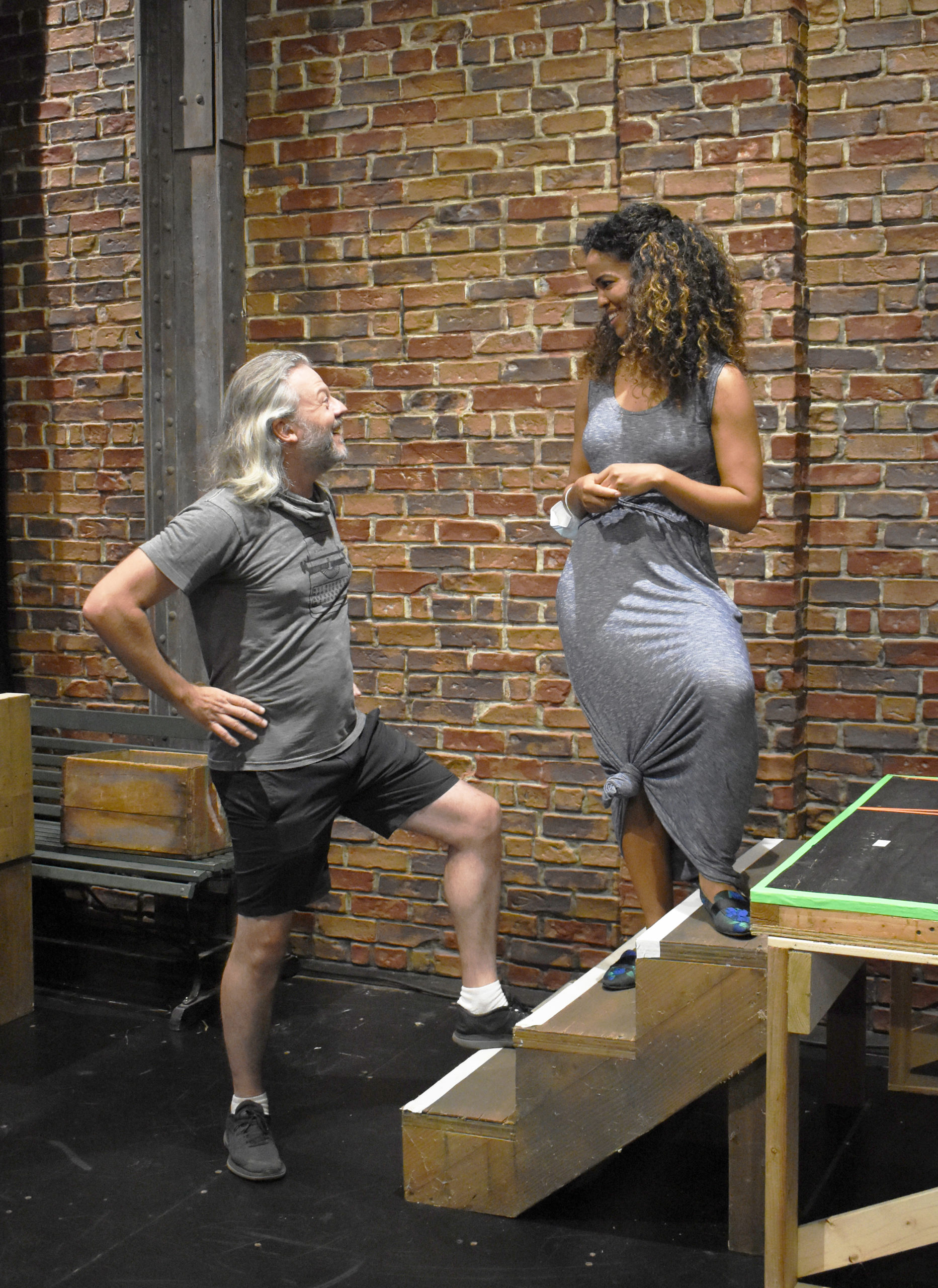 Jeremy Kushnier (King Arthur) and Britney Coleman (Guenevere) in rehearsals for Bay Street Theater's