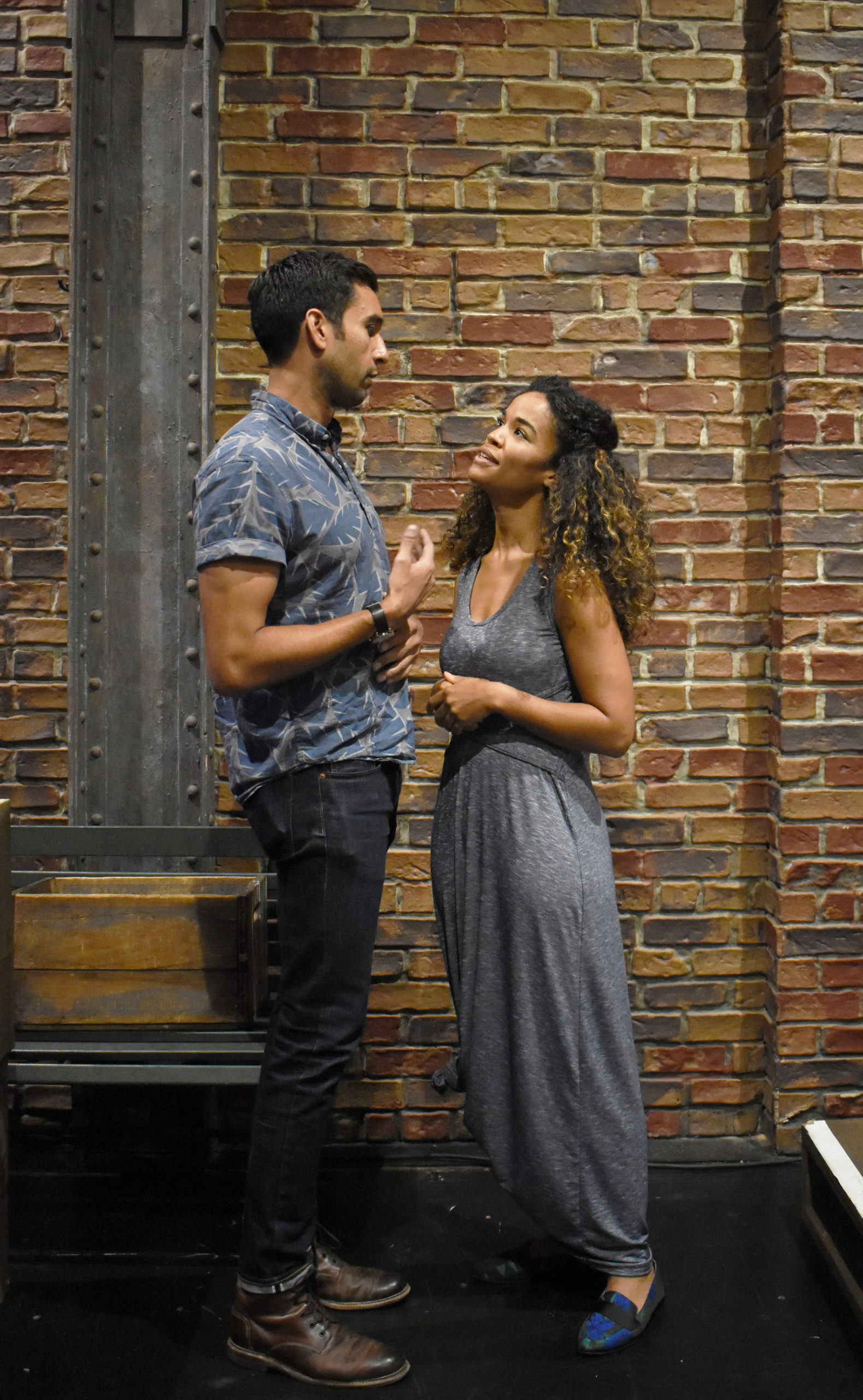 Deven Kolluri (Lancelot) and Britney Coleman (Guenevere) in rehearsals for Bay Street Theater's