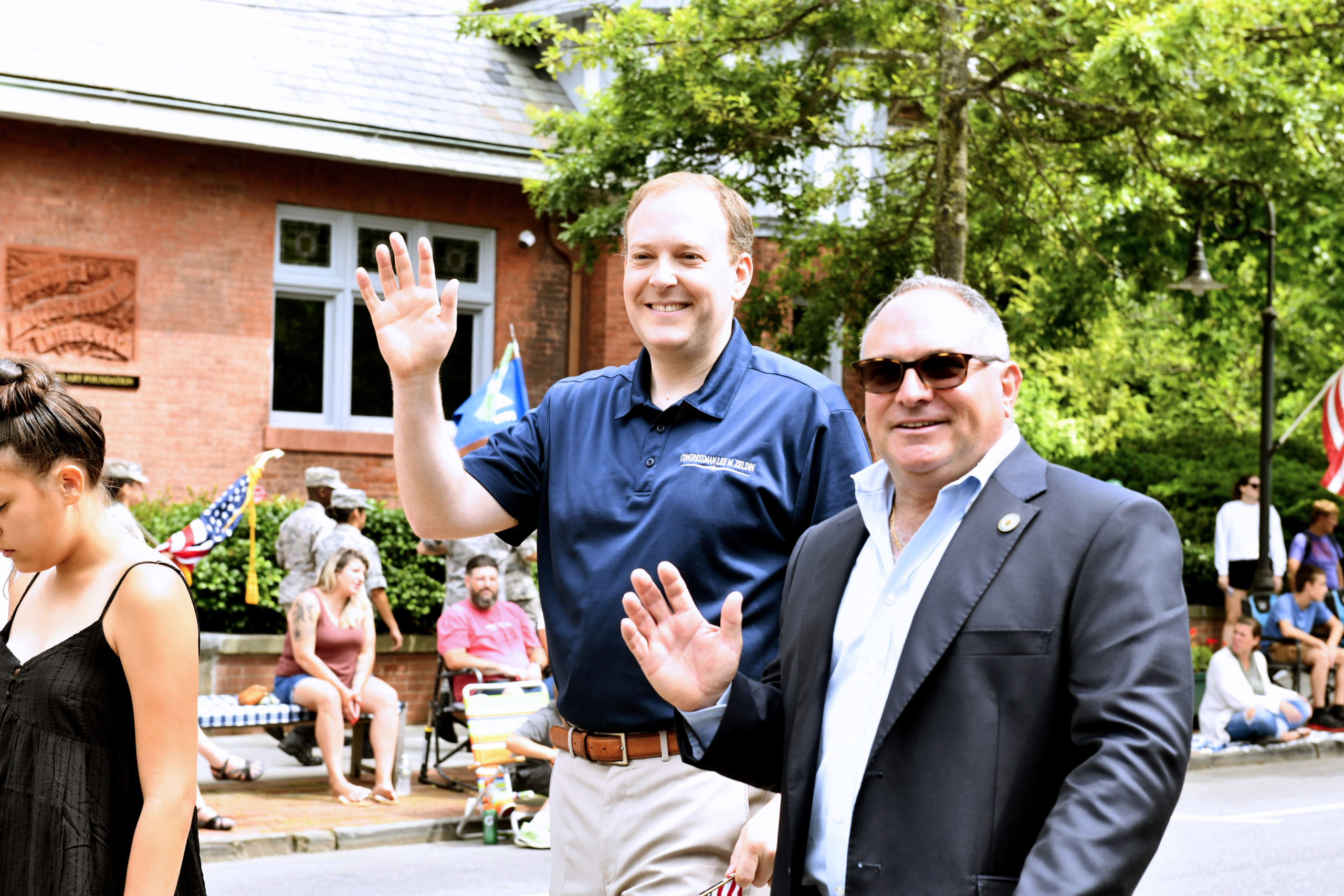 U.S. Representative Lee Zeldin with Southampton Town Trustee Scott Horowitz during the July Fourth parade in Southampton Village. DANA SHAW
