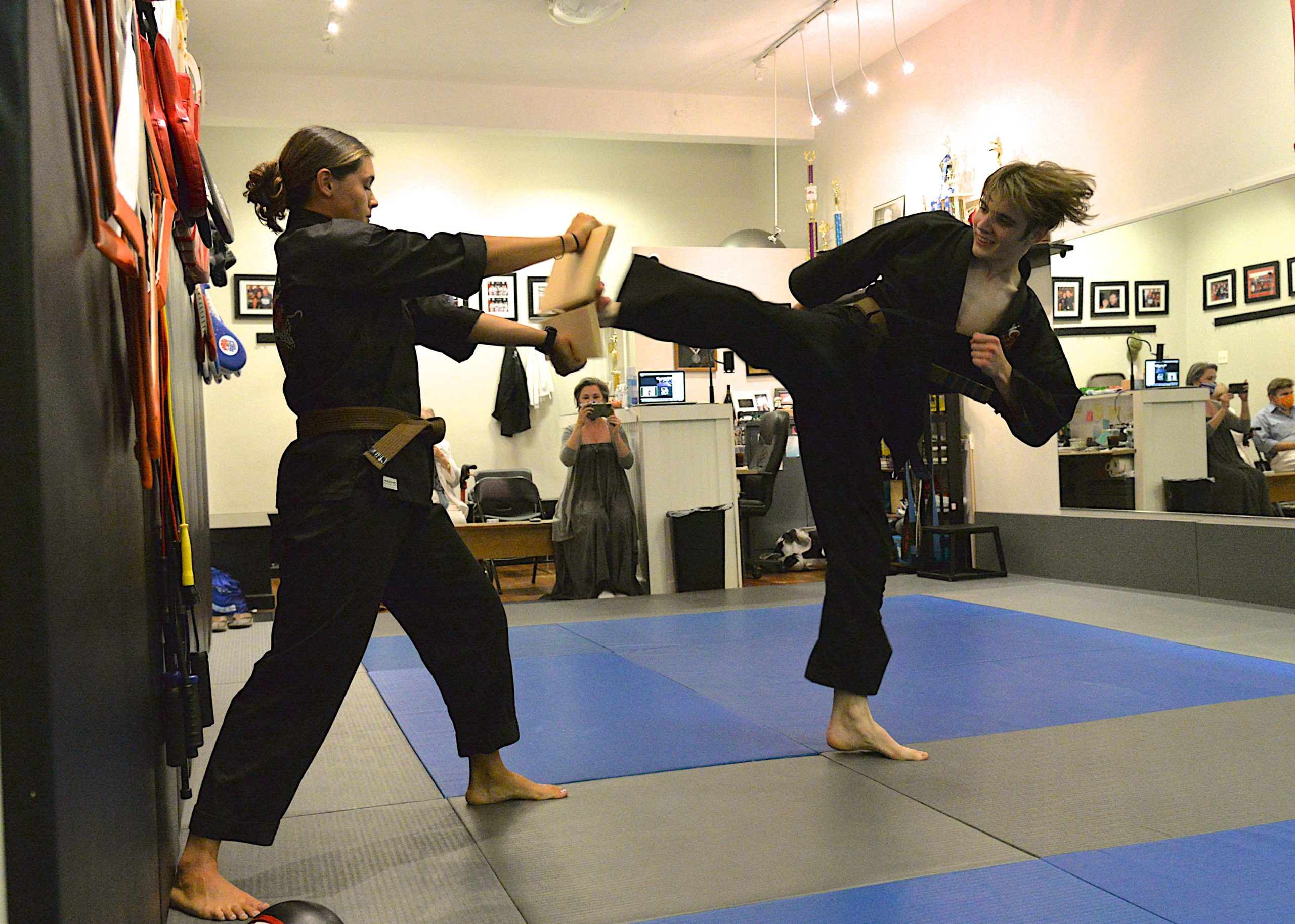 Thomas Schiavoni went through a number of tests this past Saturday, July 31, at EPIC Martial Arts in Sag Harbor to earn his black belt.  KYRIL BROMLEY PHOTOS