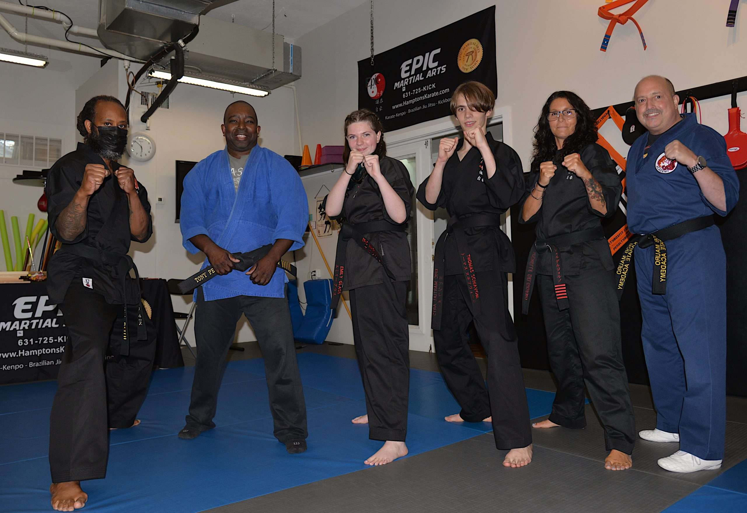 Senseis and instructors, from left, Terence Keith, Anthony Peters, Emily Glass, Thomas Schiavoni, Michelle Del Giorno and Robert Mauro.