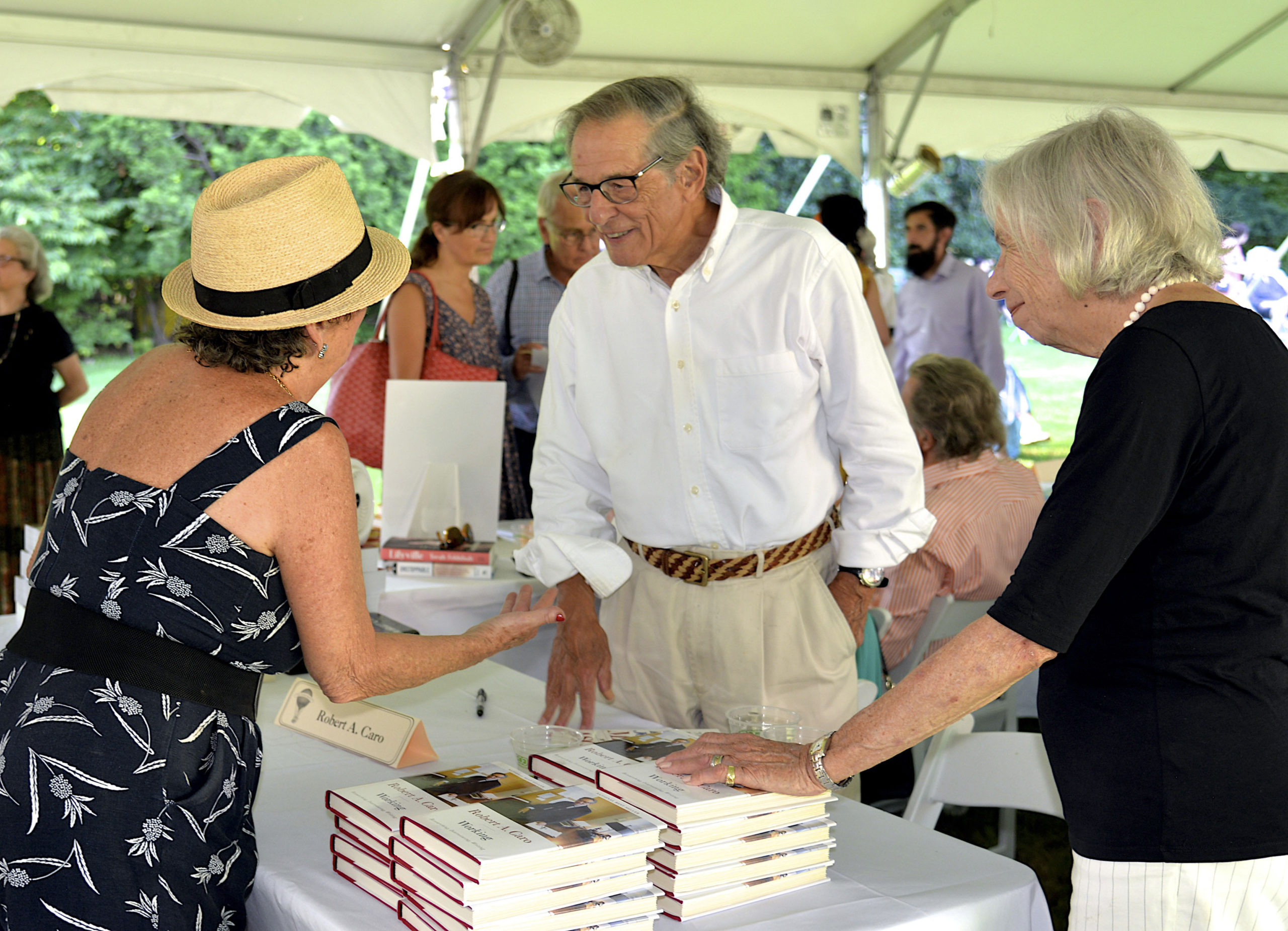 Robert Caro at the East Hampton Library's 17th Annual Authors Night book signing cocktail party on Saturday evening on the library grounds.             KYRIL BROMLEY