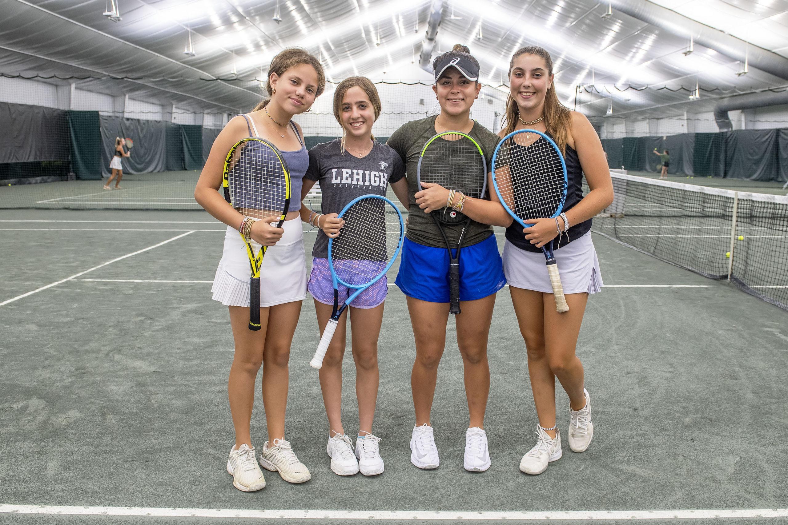 Pierson freshman Maya Molin, left, and eighth-grader Audrey Monaco are rising talent that join the Bonackers team this season, led by East Hampton senior Bella Wash and Pierson senior Sandrine Becht. MICHAEL HELLER