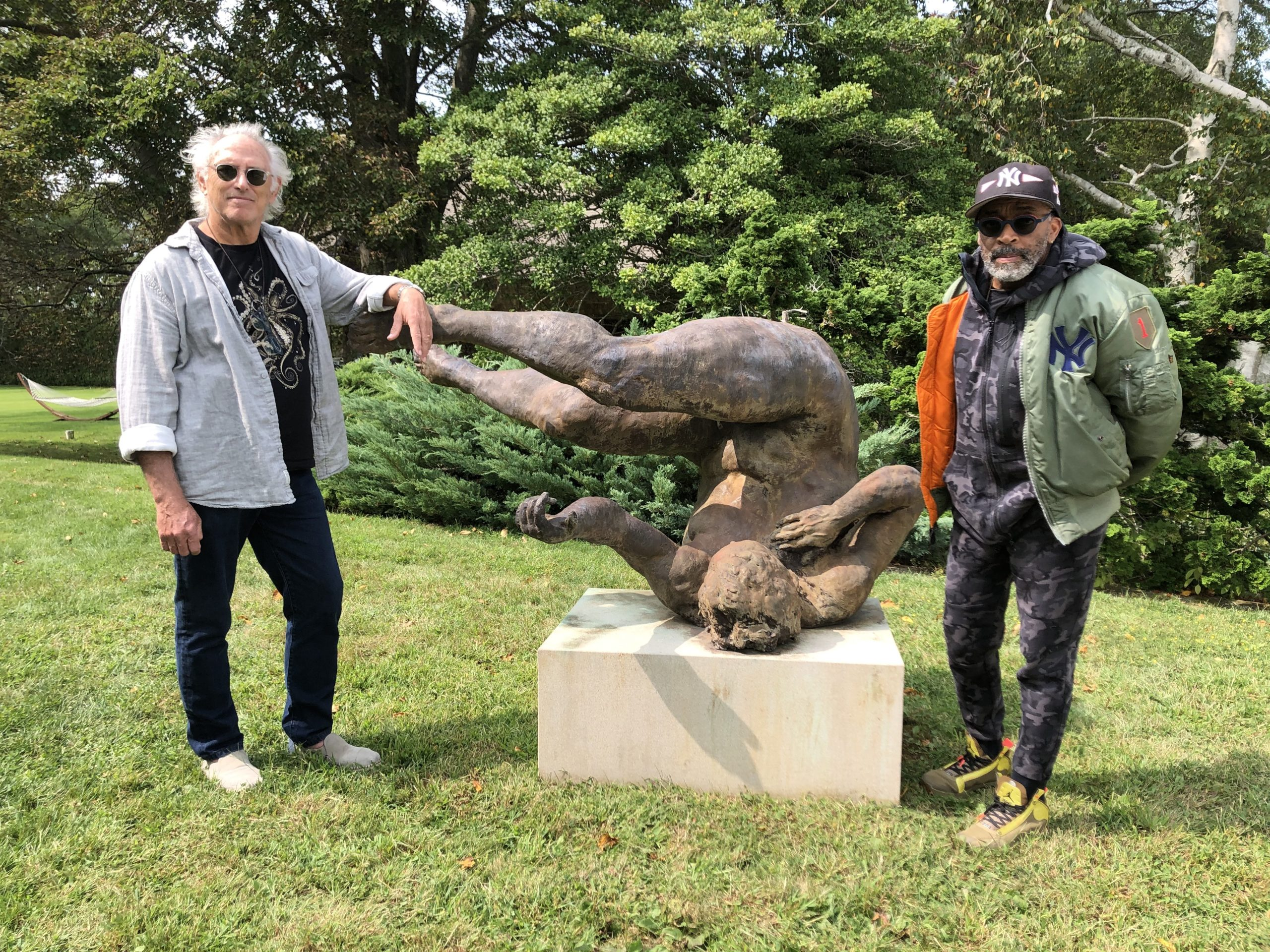 Artist Eric Fischl with director Spike Lee and