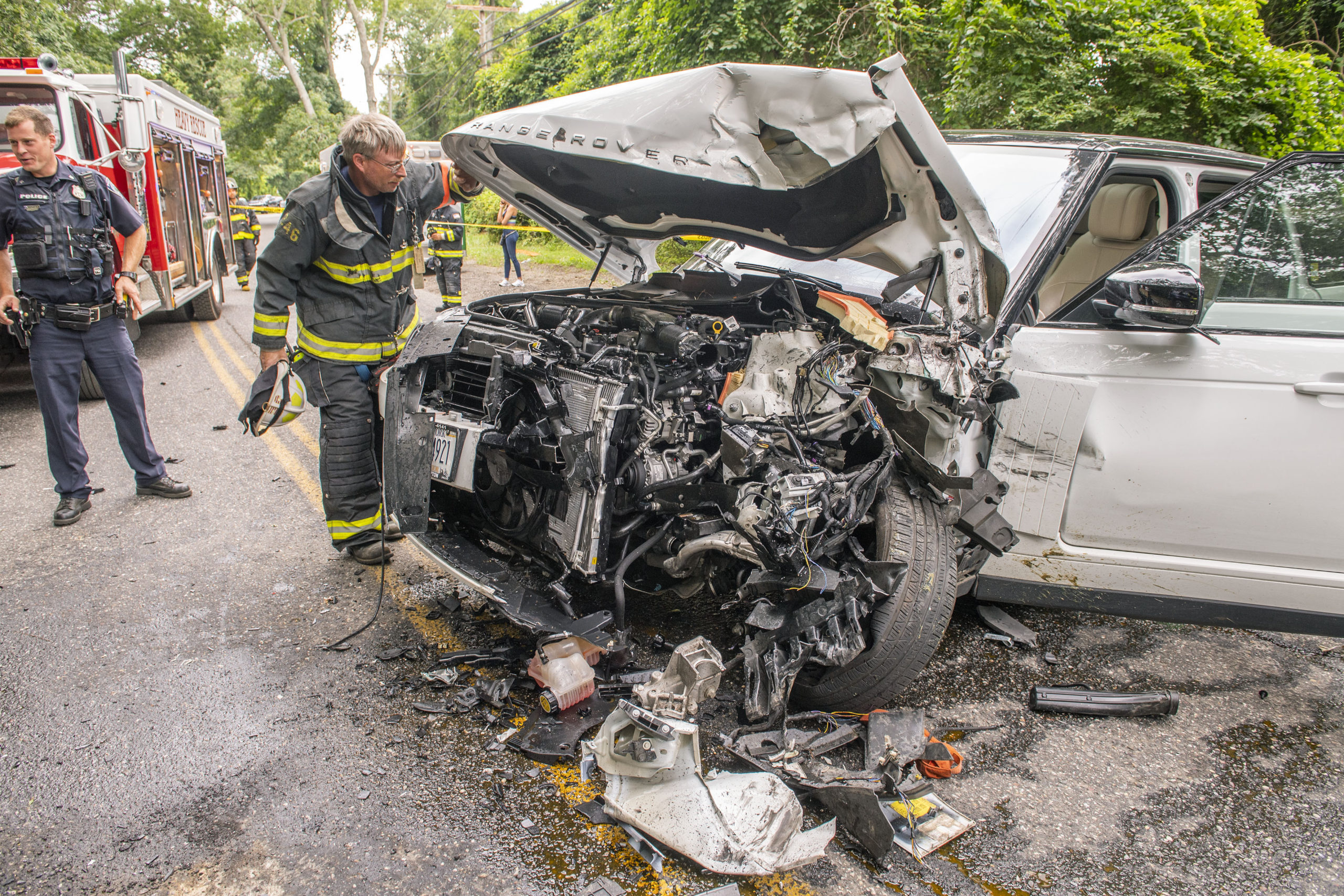 The driver of one of two SUVs that collided head-on near the intersetion of Stephen Hands Path and Two Holes of Water Road had to be cut out of his vehicle by East Hampton Fire Department's Heavy Rescue Squad.