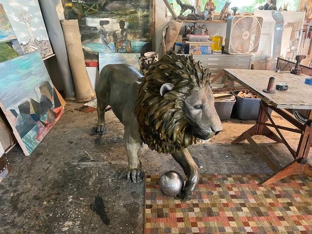 Paton Miller's lion in the artist's studio.