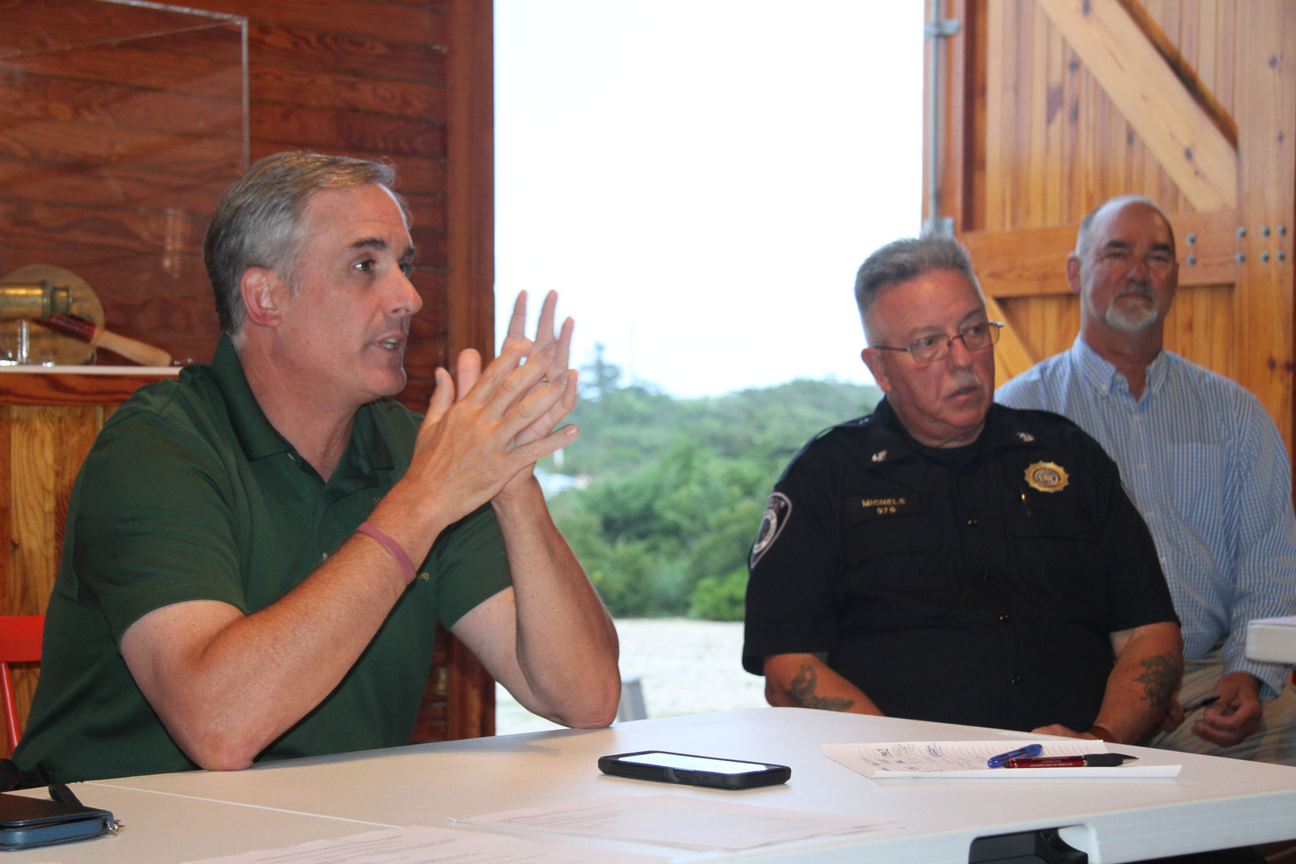 East Hampton Town Police chief Michael Sarlo and Chief Harbormaster Ed Michels.  MICHAEL WRIGHT