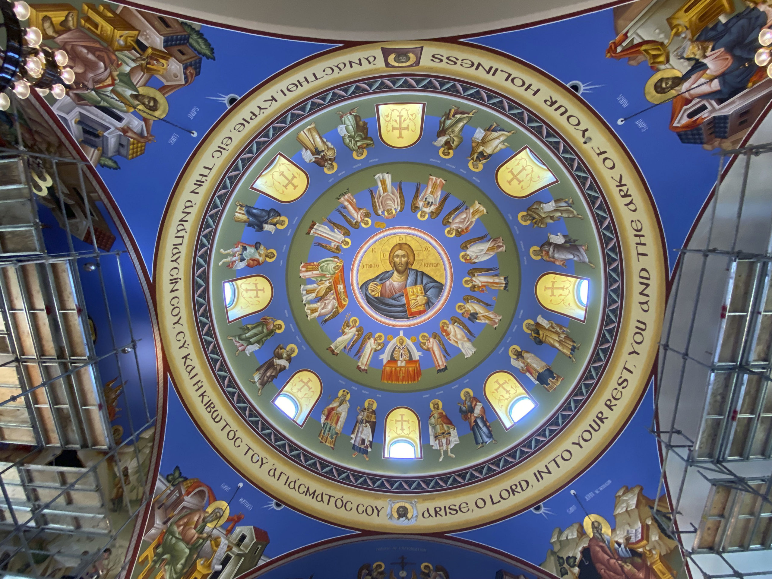 The dome of the Dormition of the Virgin Mary Greek Orthodox was done earlier by iconographer George Filippakis.   DANA SHAW