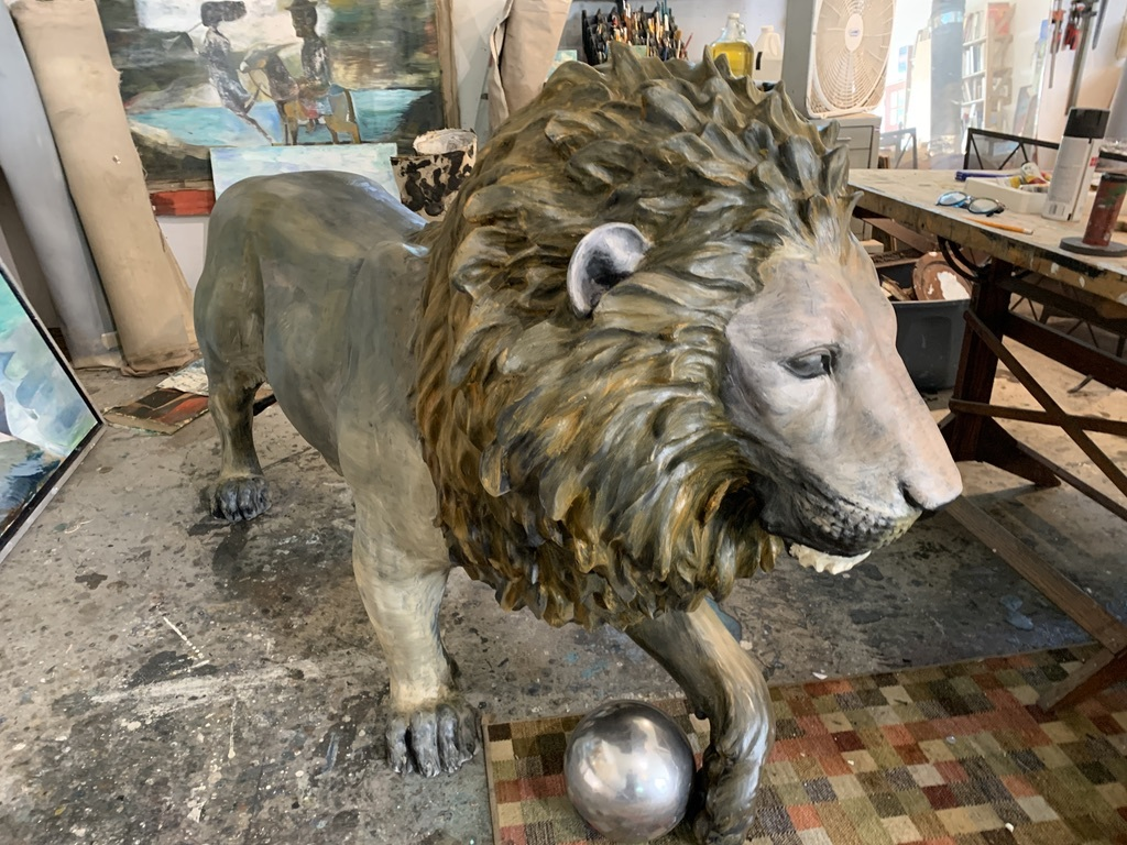 Paton Miller's lion in his Southampton studio and ready to roar.