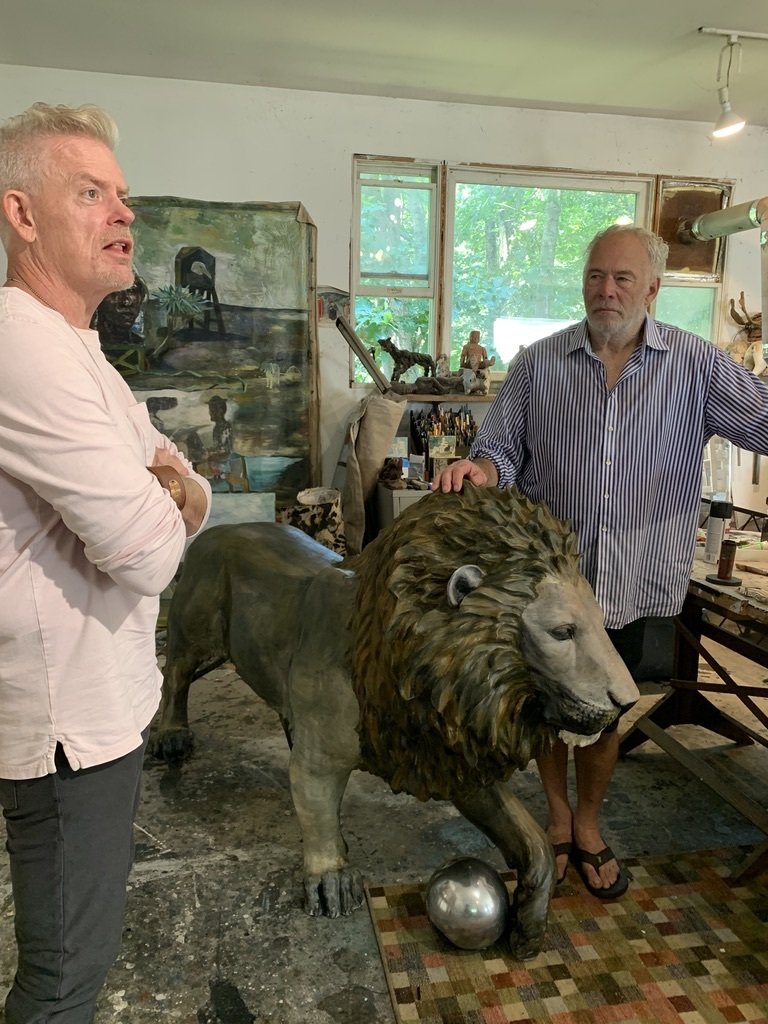 Brady Forseth, CEO of the African Community & Conservation Foundation, with artist Paton Miller in his Southampton studio.