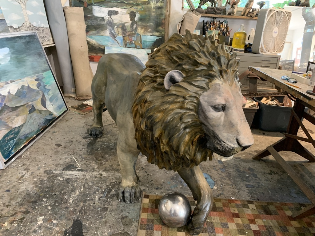 Paton Miller's completed lion sculpture in his Southampton studio.