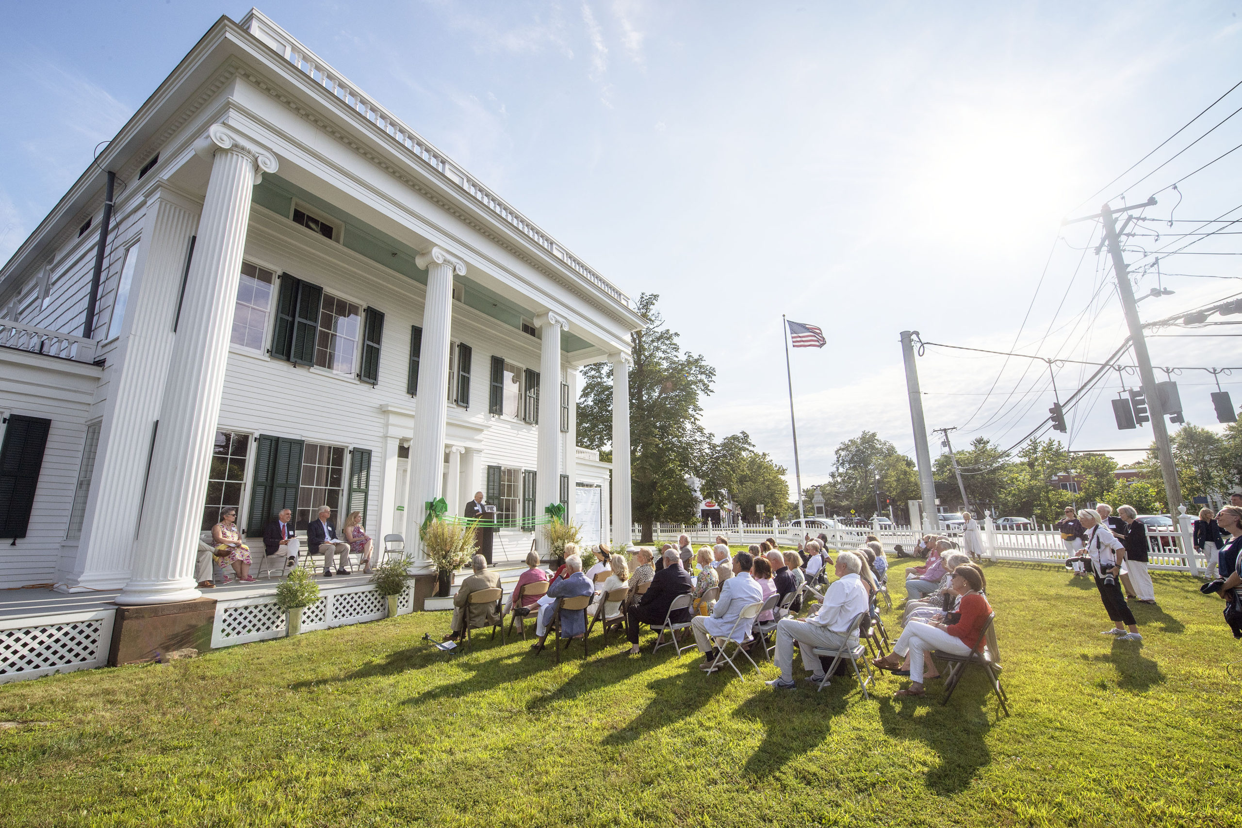 A ribbon-cutting ceremony was held to inaugurate the new, completely refurbished Nathaniel Rogers House at the corner of Ocean Road and Montauk Highway on Sunday.   MICHAEL HELLER