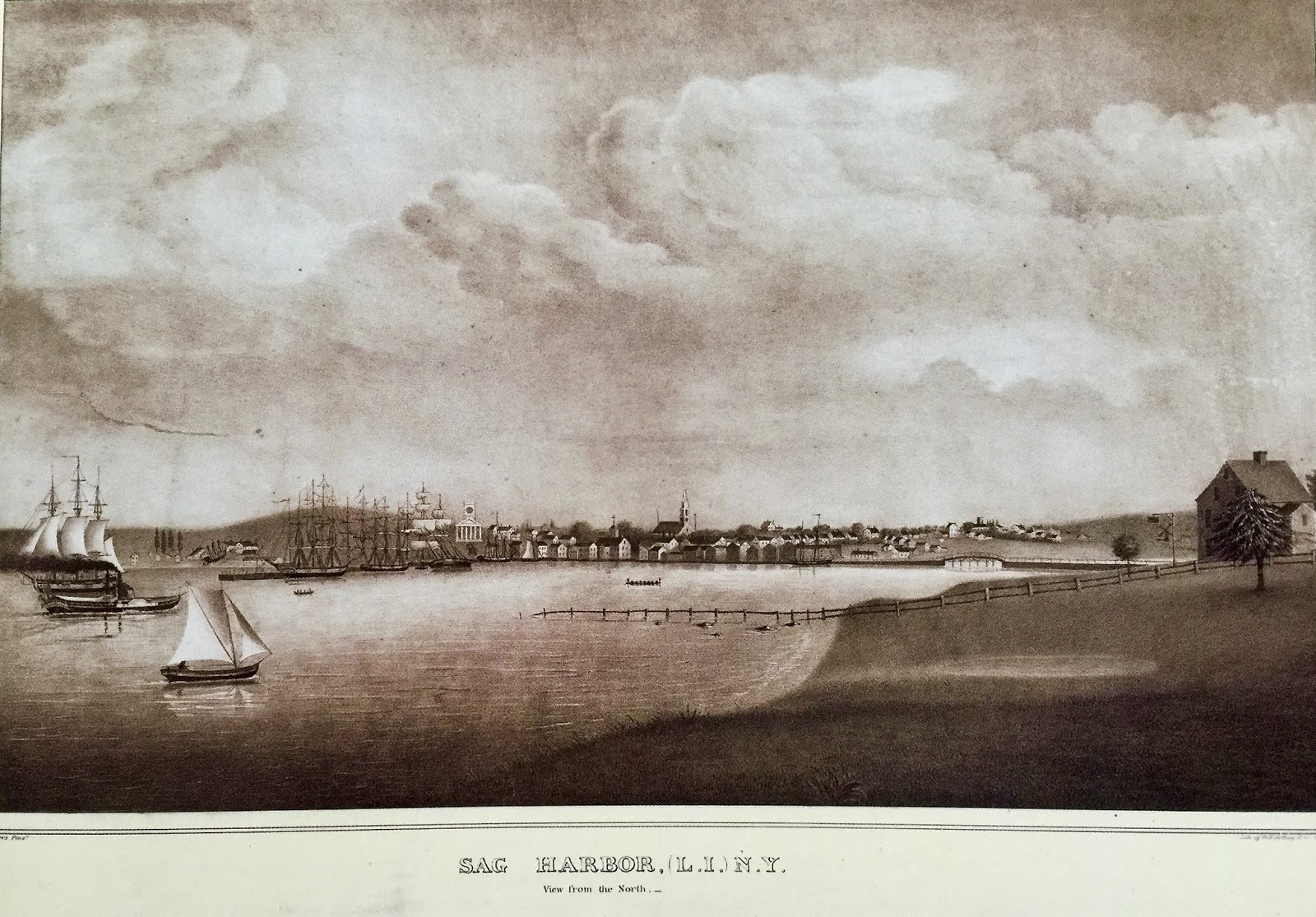 An 18th century view of Sag Harbor painted by local artist Orlando Hand Bears in 1840.